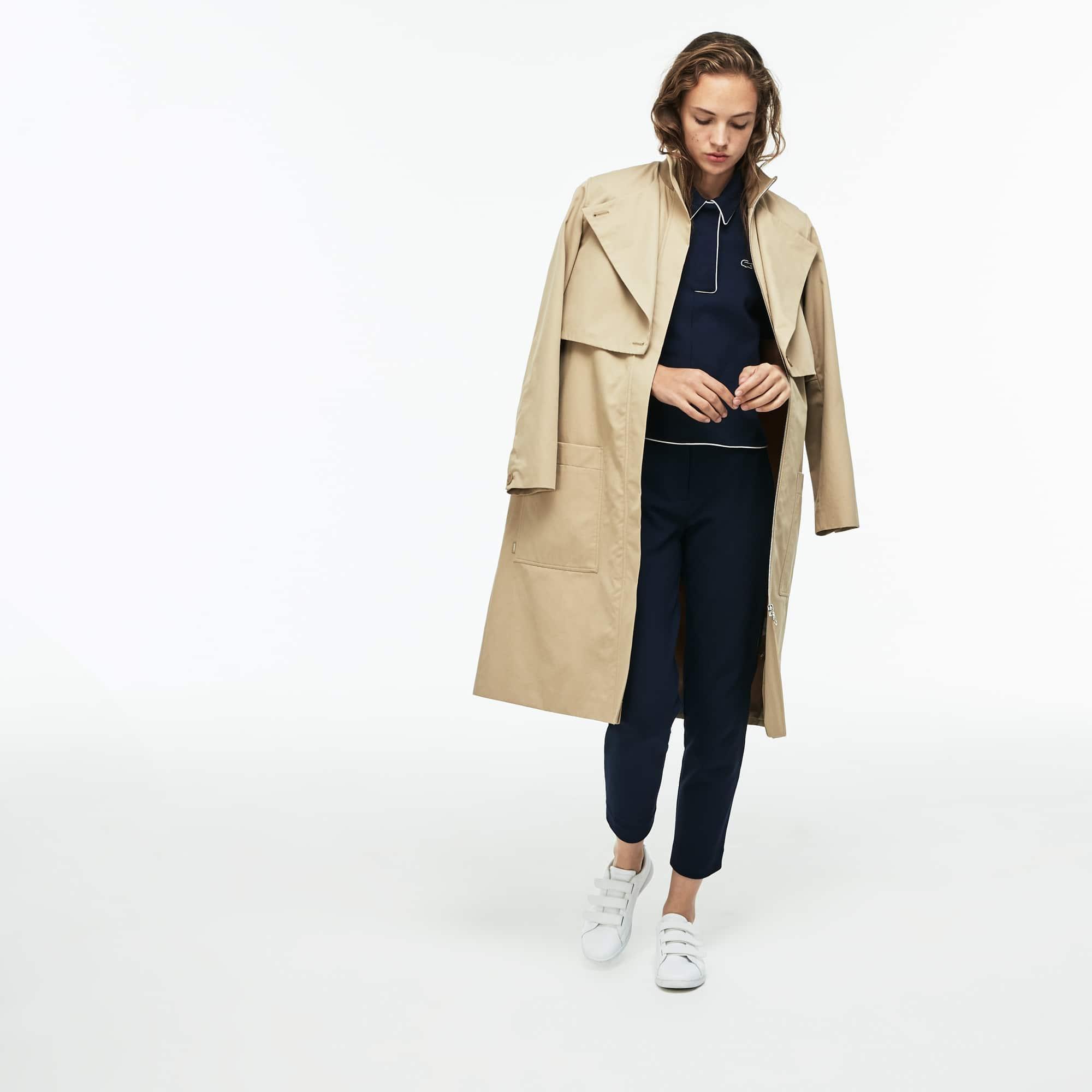 Damen-Trenchcoat aus Baumwolltwill mit Gurt und Windschutz