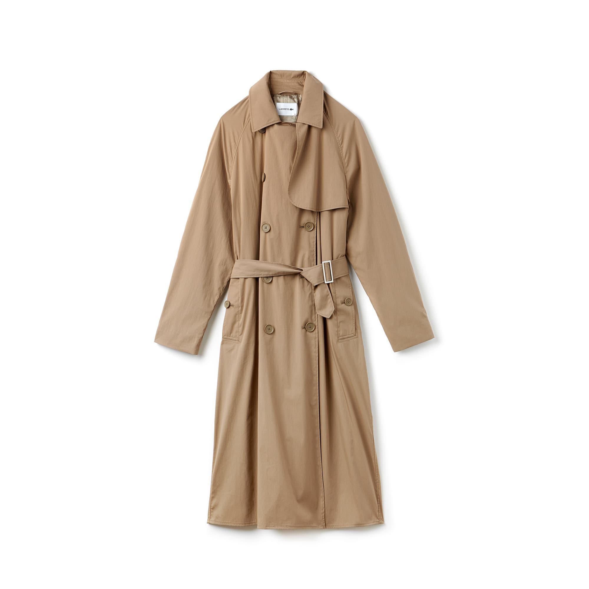 Damen-Trenchcoat im Wickeldesign aus Mikrofaser mit Gürtel