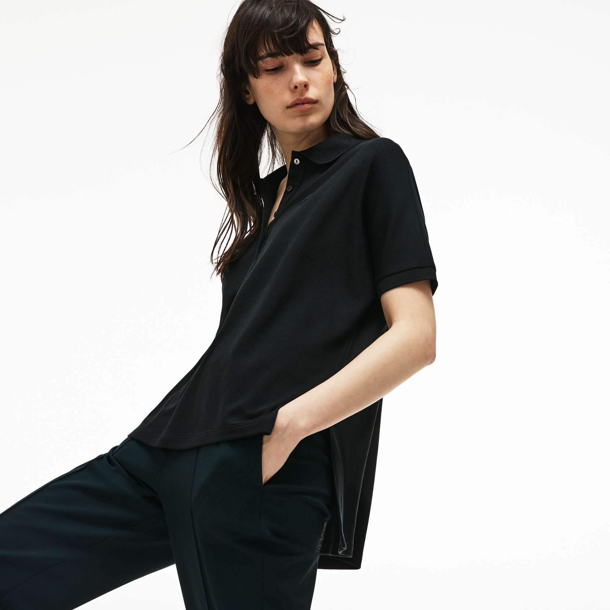 Damen LACOSTE Boxy Fit Poloshirt aus Baumwoll-Piqué mit Stretch