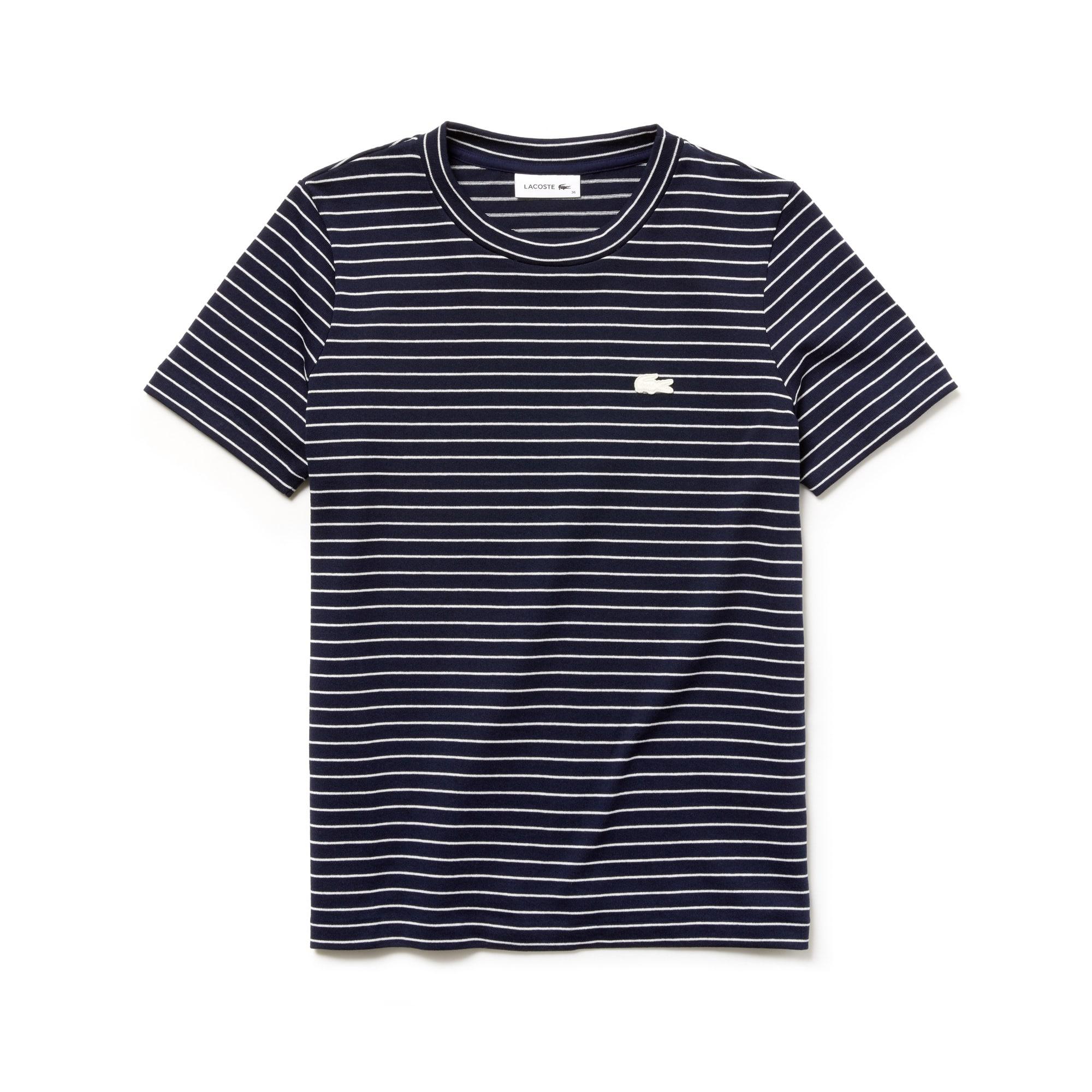Damen-Rundhals-Shirt aus gestreiftem Baumwolljersey