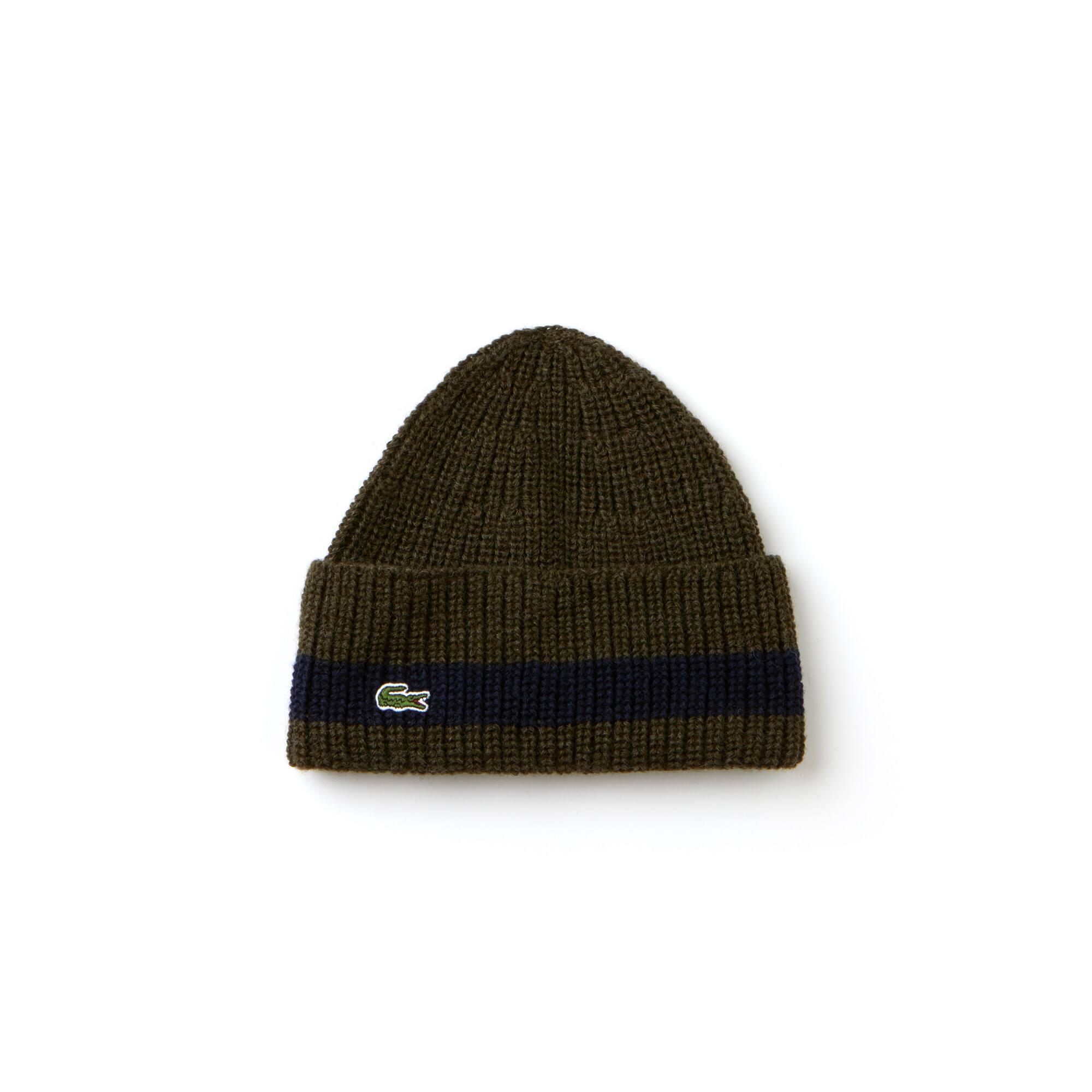 Herren-Mütze aus gerippter Wolle mit umgeschlagenem Saum