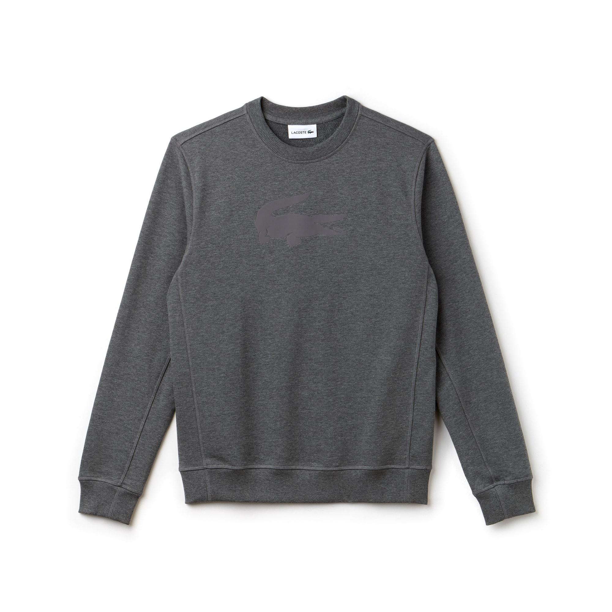 Herren-Rundhals-Sweatshirt aus Fleece mit Krokodil-Aufdruck