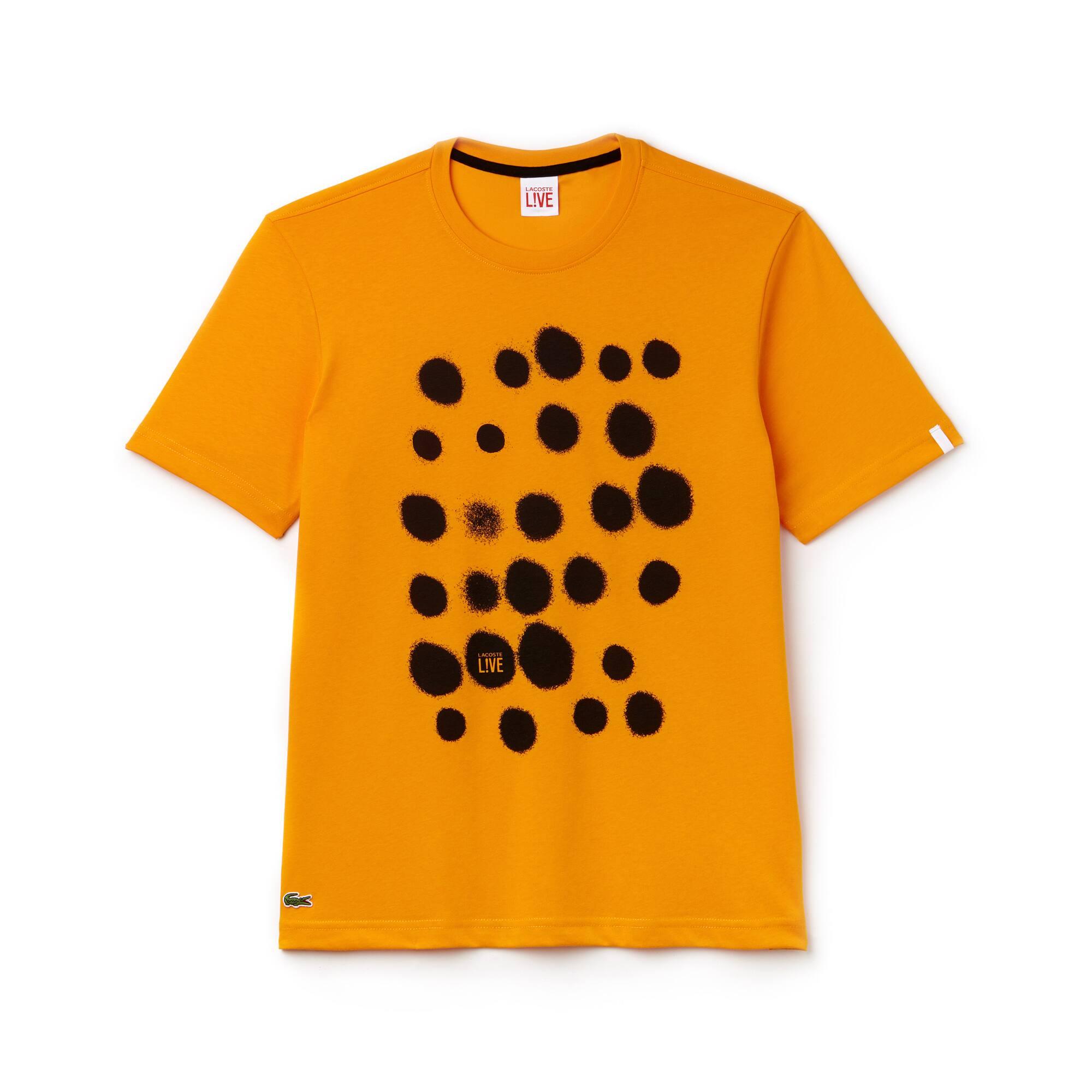 Herren LACOSTE LIVE Rundhals Jersey T-Shirt mit Sprayfarben-Print