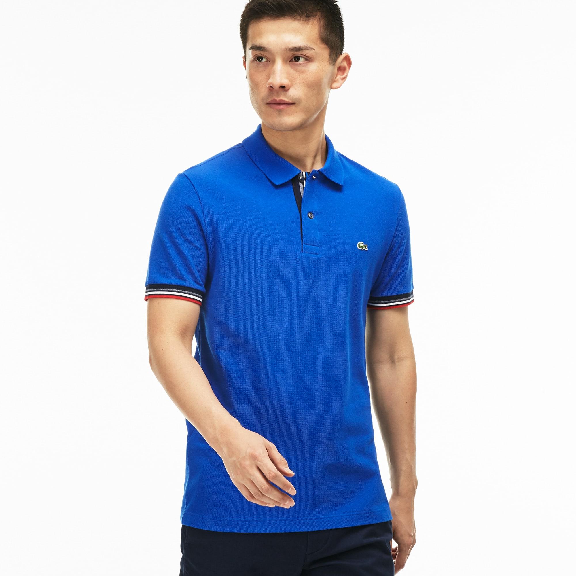 Slim Fit Herren-Poloshirt aus doppellagigem Baumwoll-Petit-Piqué
