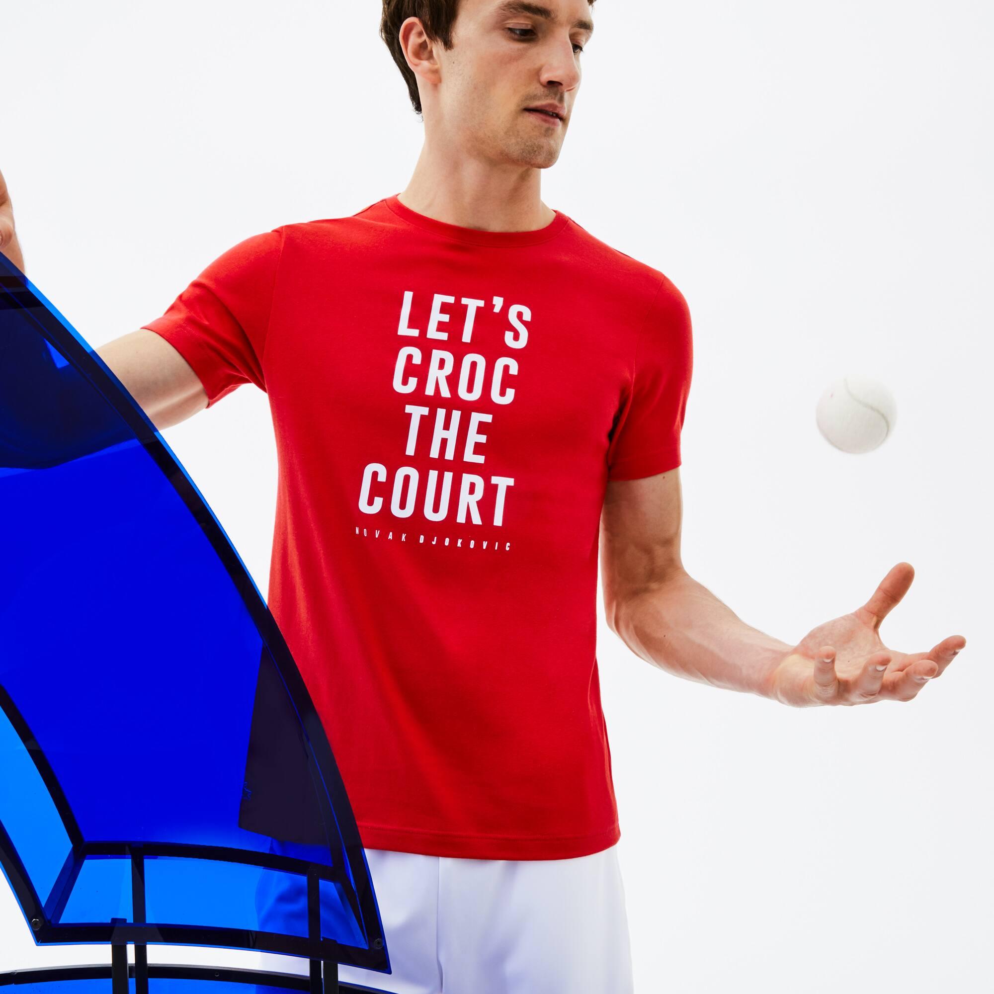 Herren Rundhals-T-Shirt aus Jersey mit Schriftzug LACOSTE SPORT