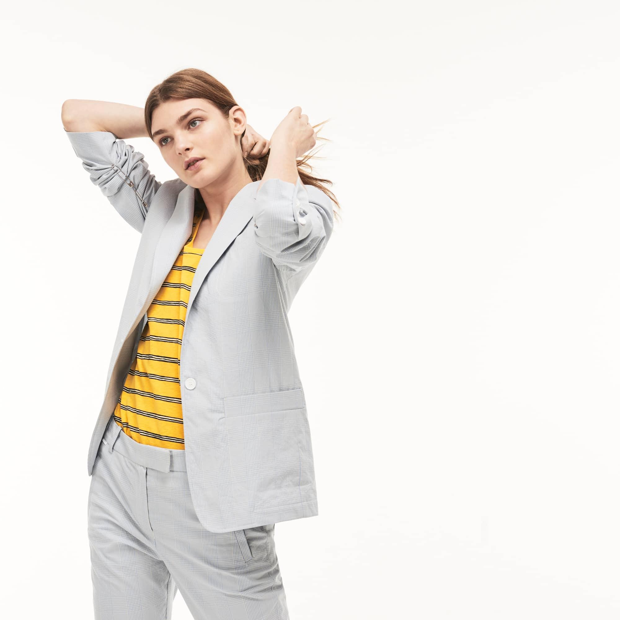 Damen Seersucker Blazer aus Baumwolle