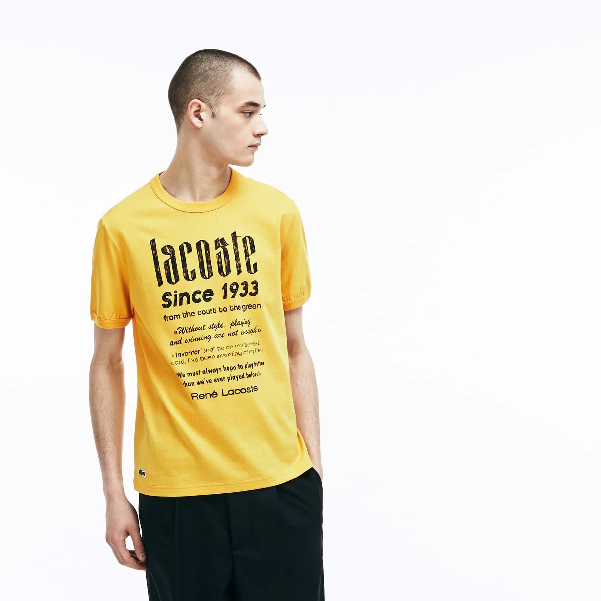 Herren LACOSTE L!VE Rundhals Jersey T-Shirt mit Kultprint
