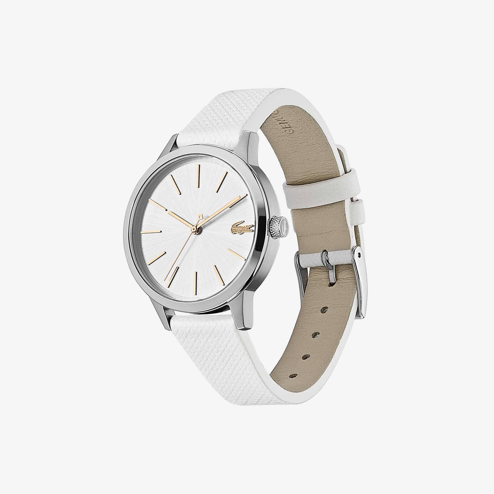 Damen LACOSTE 12.12 Premium-Uhr mit weißem Lederband mit eingeprägtem Petit Piqué Muster
