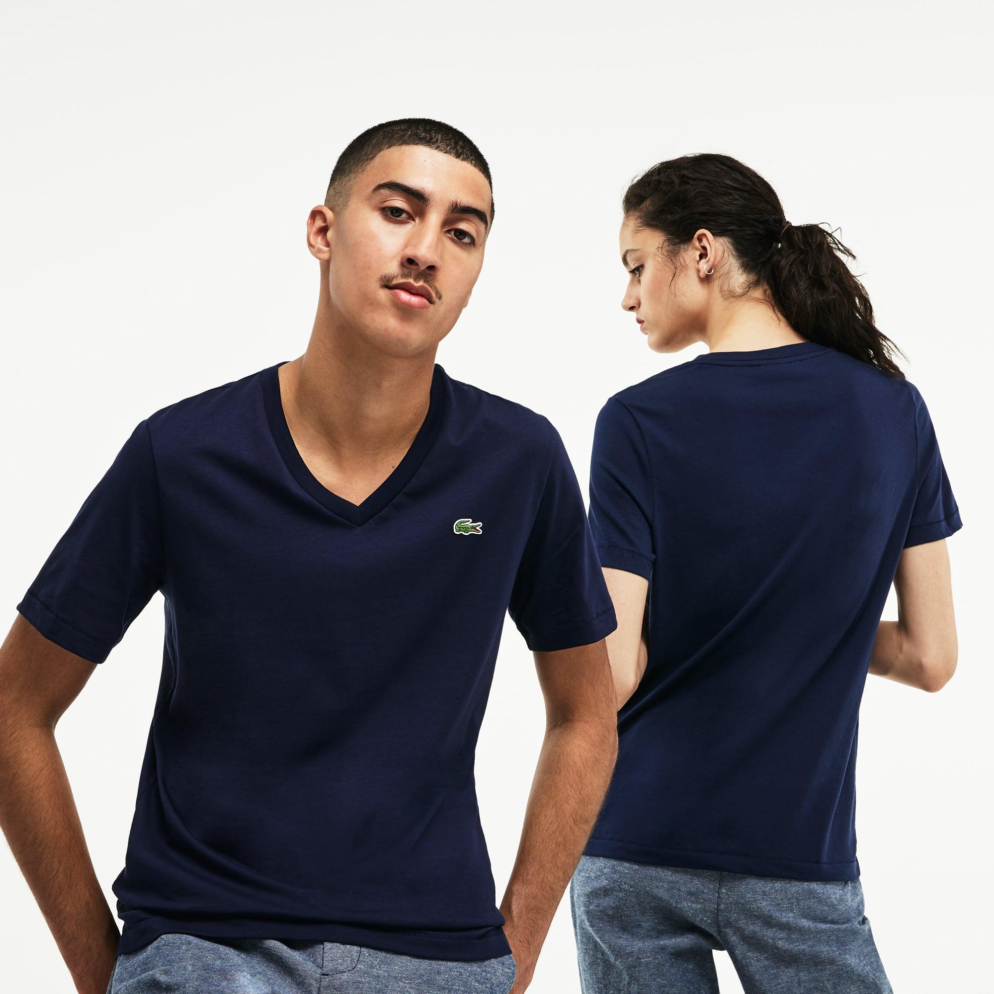 Unisex-T-Shirt mit V-Ausschnitt aus Baumwolljersey LACOSTE L!VE