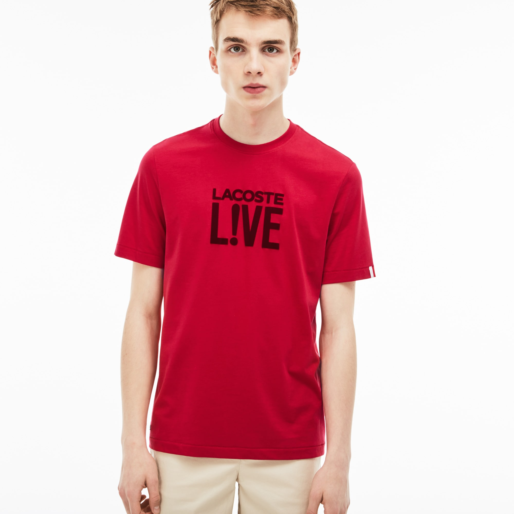 Herren-Rundhals-T-Shirt aus Velours-Jersey mit Logo LACOSTE L!VE