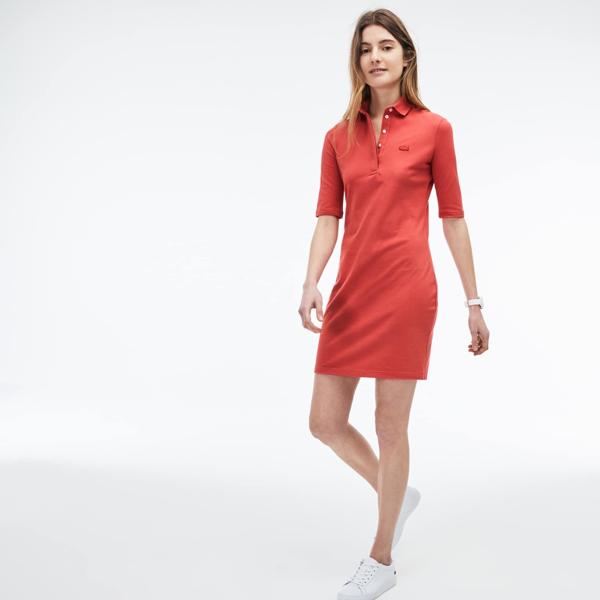 Slim Fit Damen-Polokleid aus Mini-Piqué mit Stretch