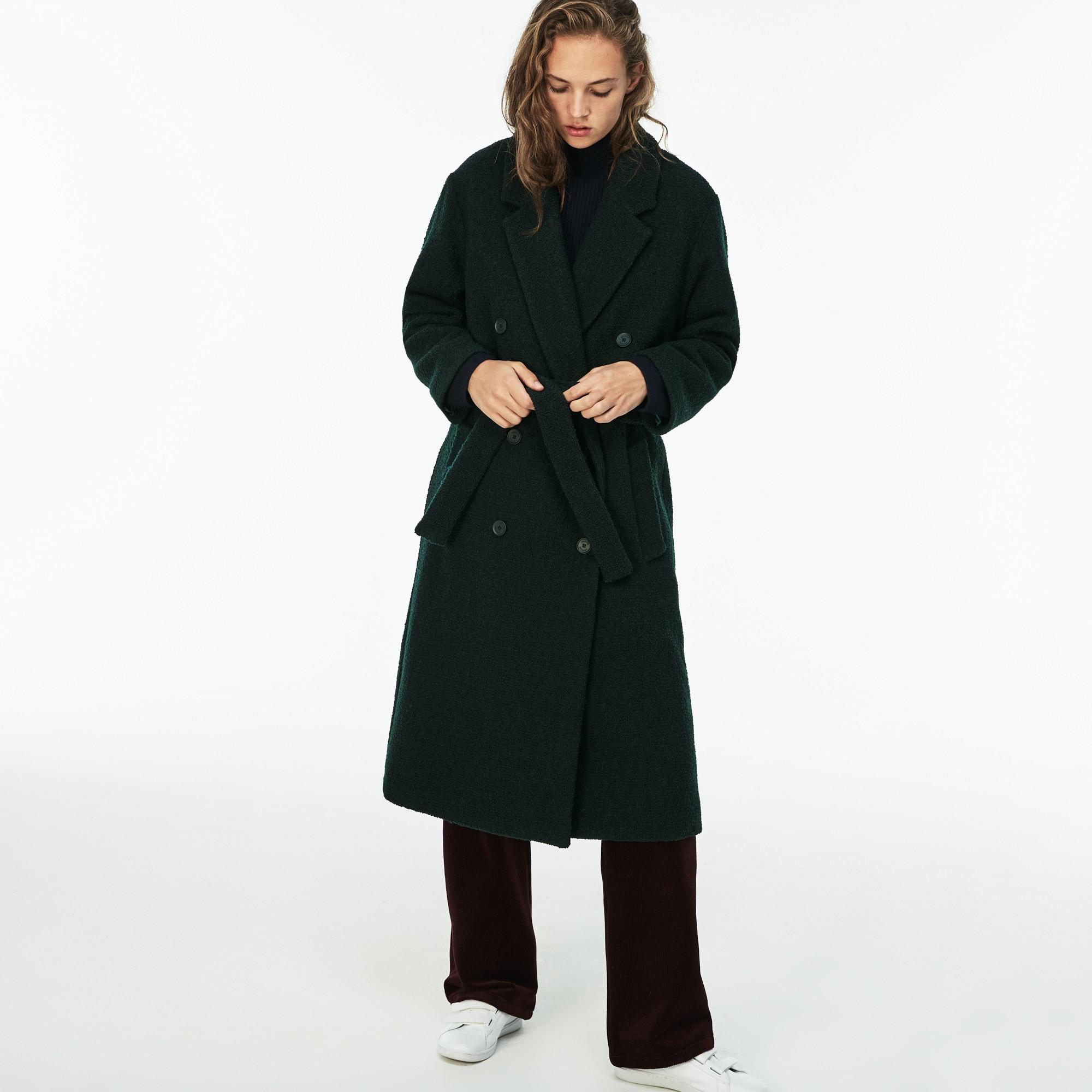 Damen doppelreihiger Trenchcoat aus Wollbouclé mit Gurt