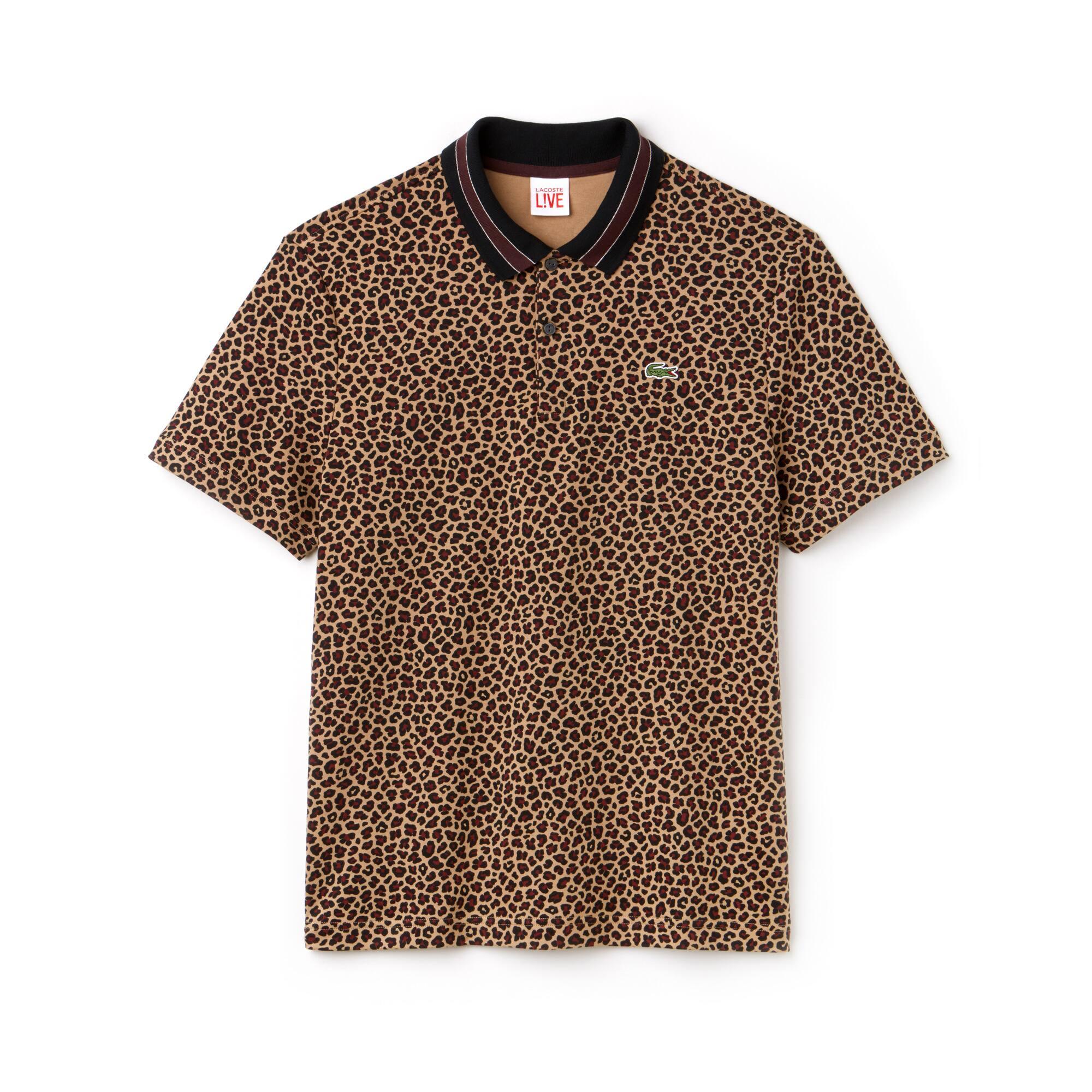 Herren LACOSTE L!VE Interlock-Poloshirt mit Leopard-Print