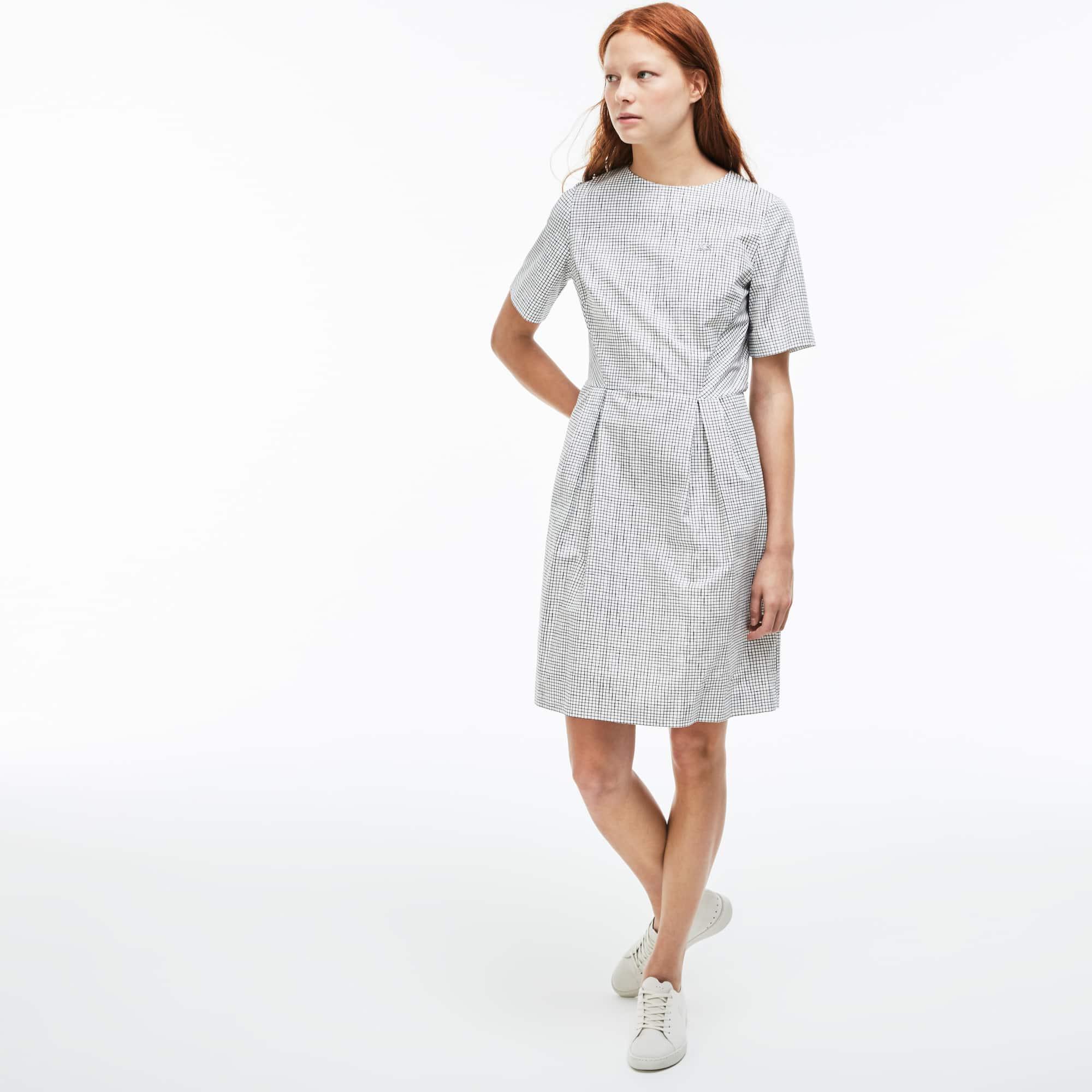 Damen-Plisseekleid in A-Linie aus Popeline LACOSTE L!VE