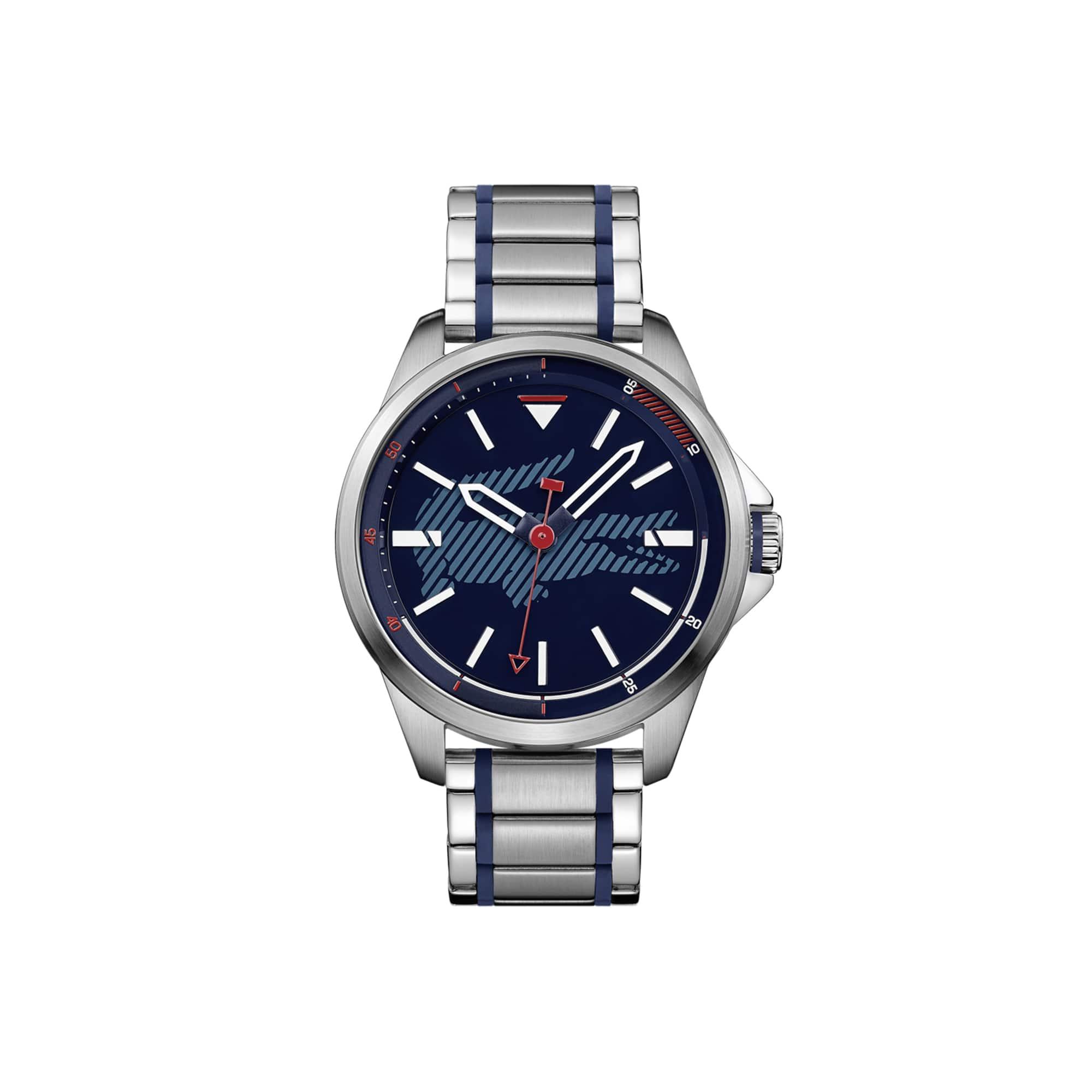 CAPBRETON Herrenuhr mit Edelstahl-Armband und blaue Silikonnähten