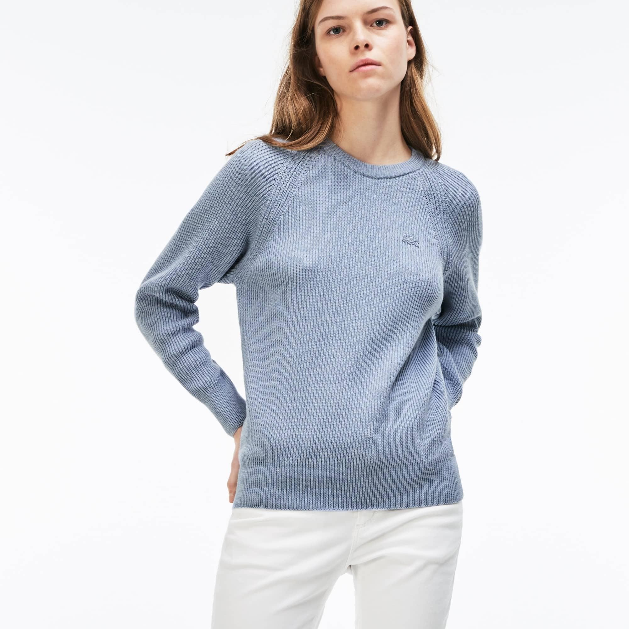Damen-Rundhalspullover aus gerippter Baumwolle und Wolle