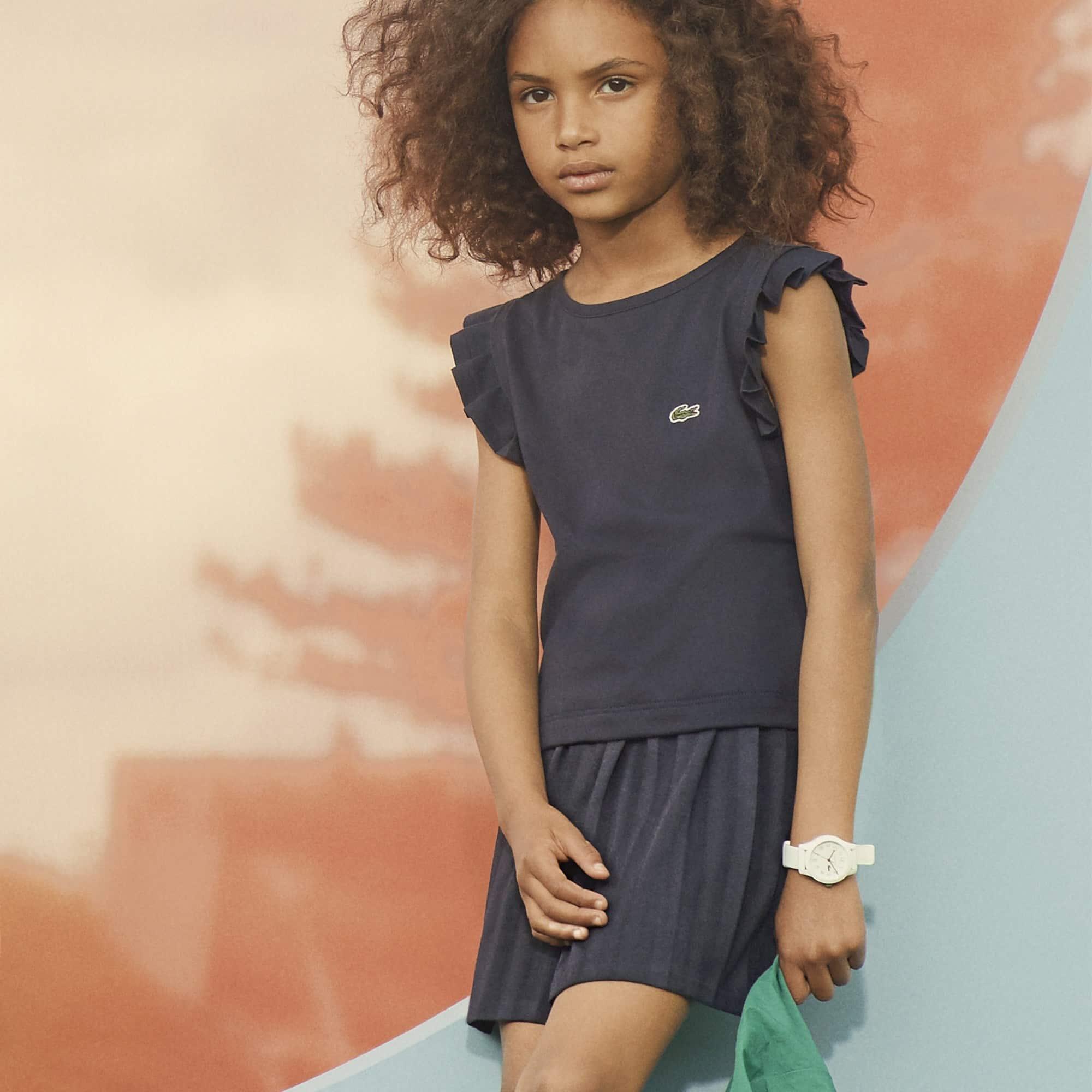 Mädchen-Rock aus gestreiftem Jersey mit Faltenlegung und Gürtel