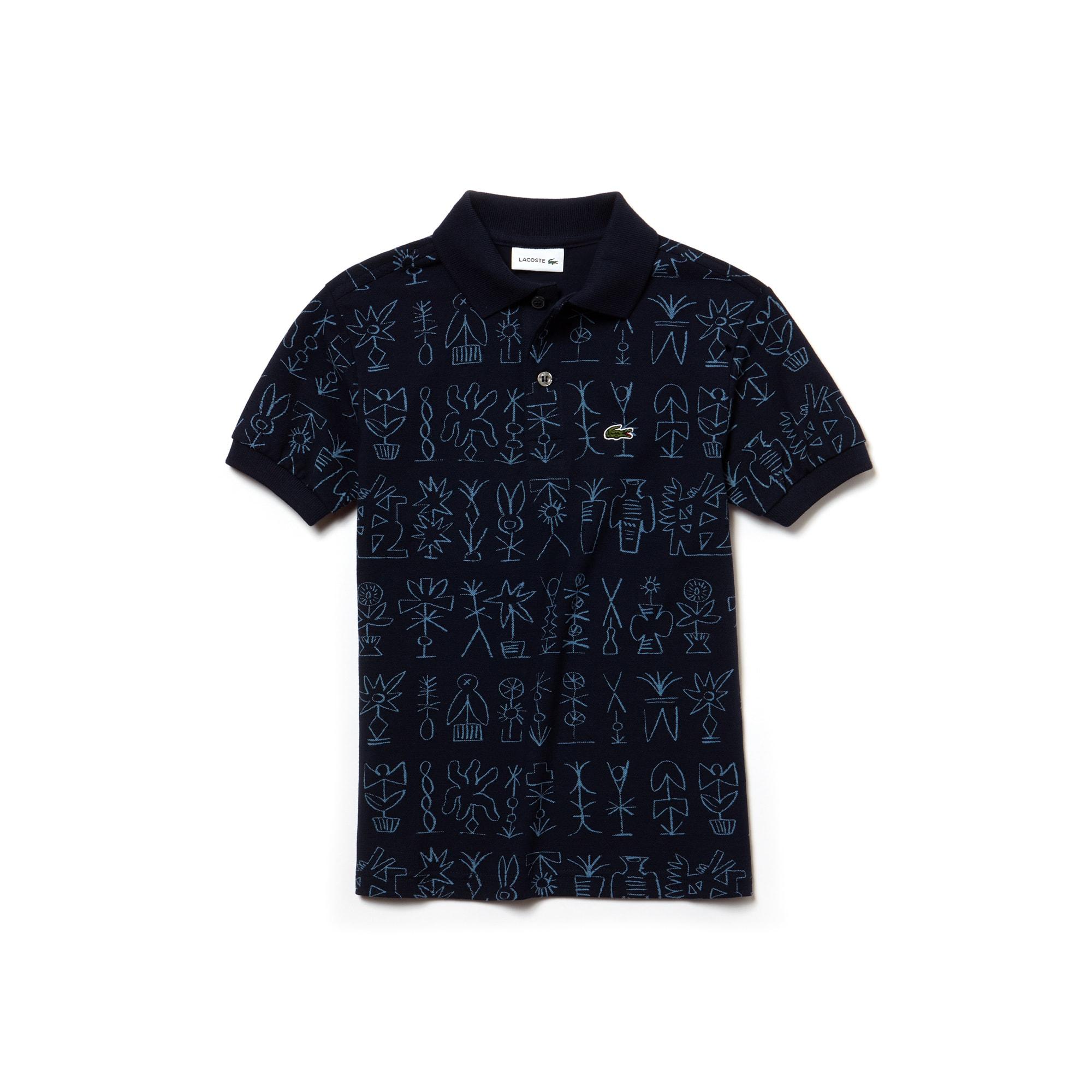 LACOSTE Jungen-Poloshirt aus Krepp-Piqué mit ägyptischem Aufdruck