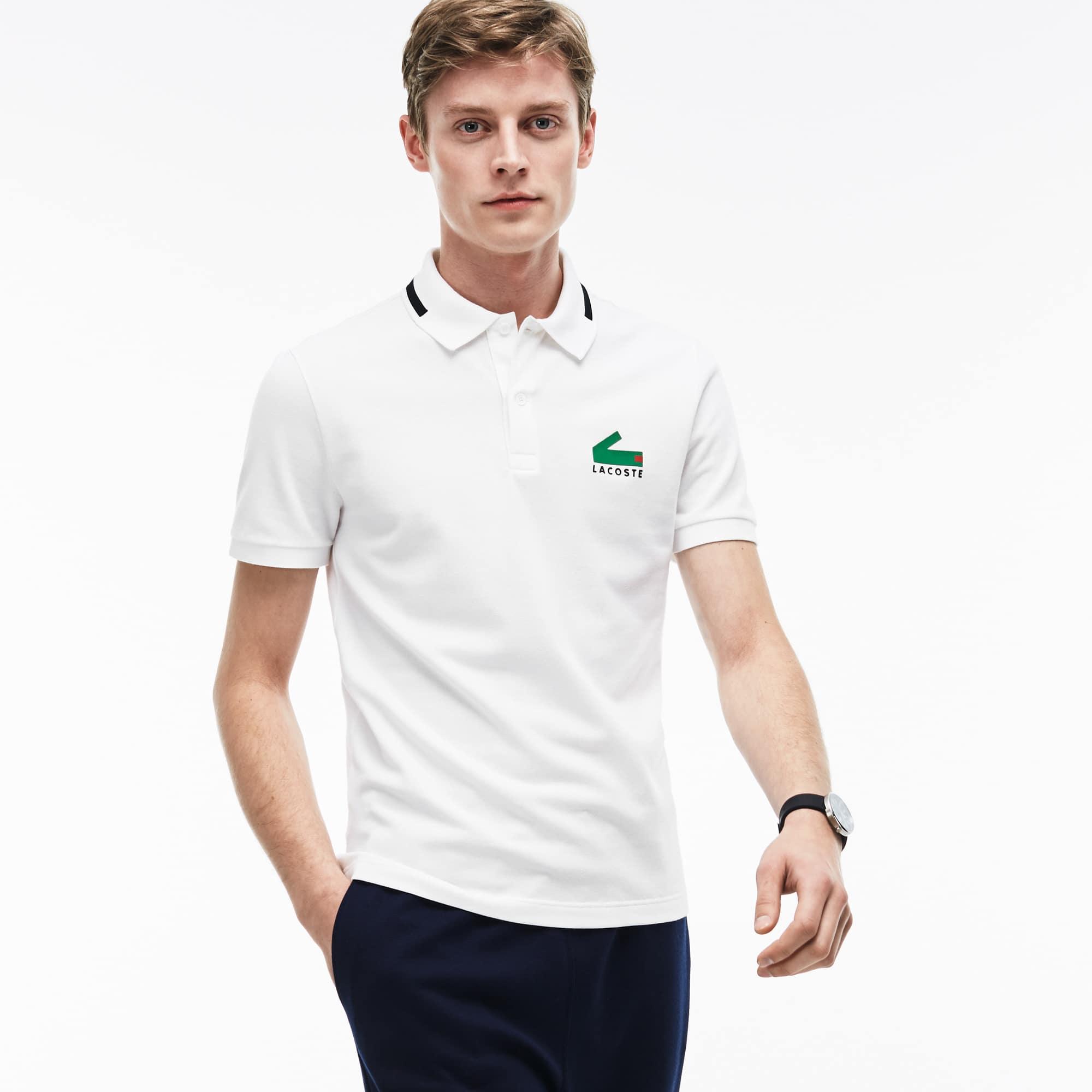 Slim Fit Herren-Poloshirt aus Mini-Piqué mit Stretch und Aufdruck