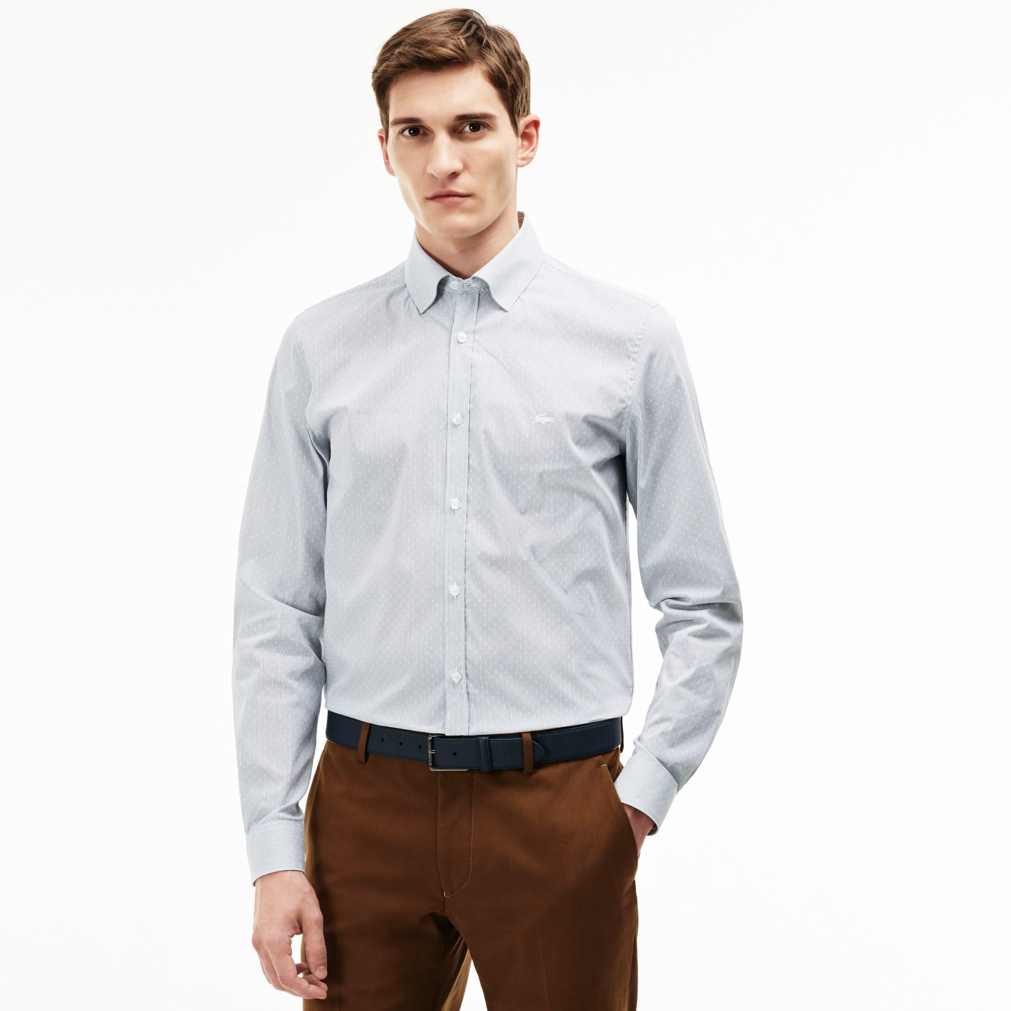 Slim Fit Herren-Hemd aus Jacquard mit Punkten und Streifen
