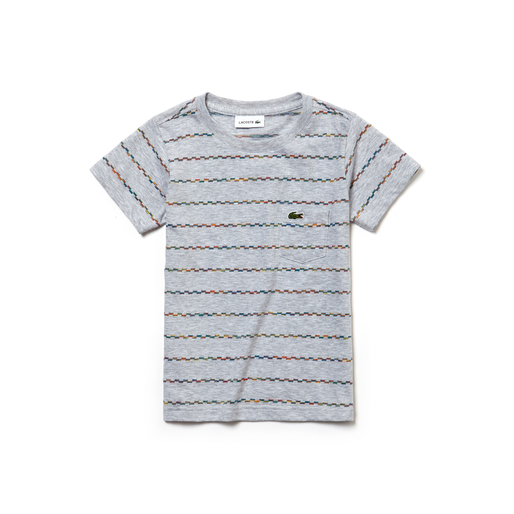 Jungen-Rundhals-T-Shirt aus Jacquard-Jersey mit bunten Streifen