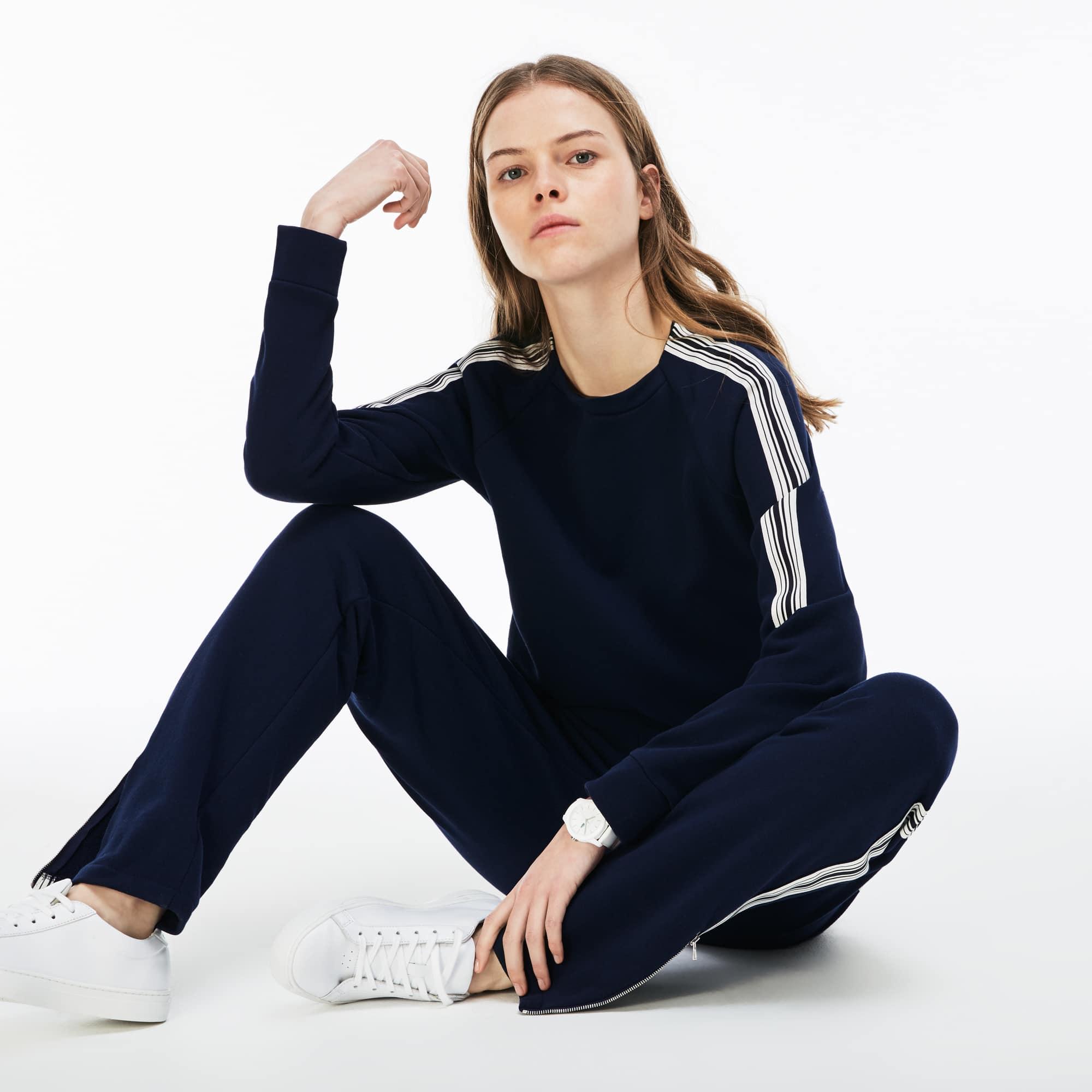 Damen-Rundhals-Sweatshirt aus Krepp-Fleece mit Kontraststreifen