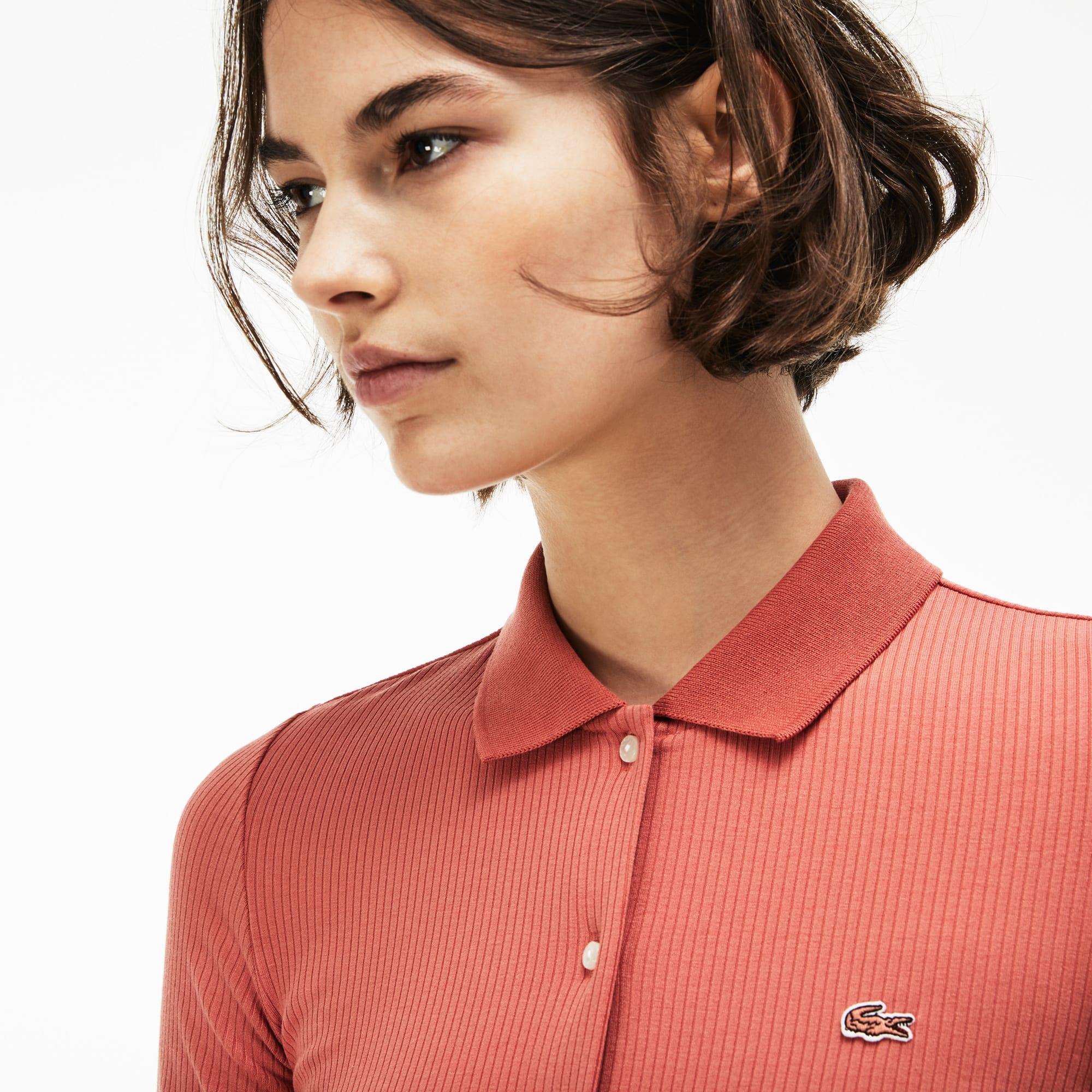 Damen LACOSTE L!VE Stretch-Slim Fit Poloshirt mit Knöpfen