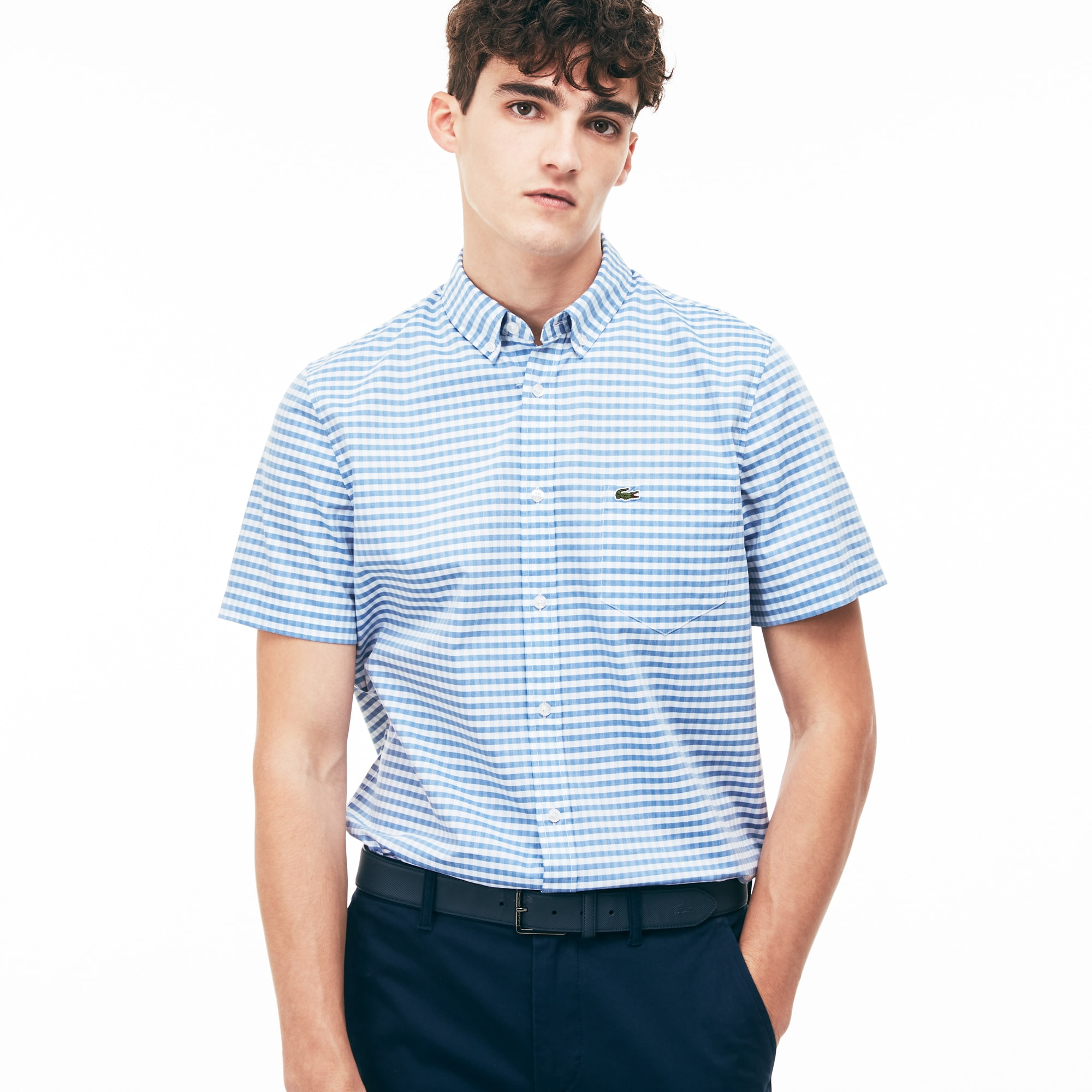 Regular Fit Herren-Hemd aus Popeline mit Vichy-Muster