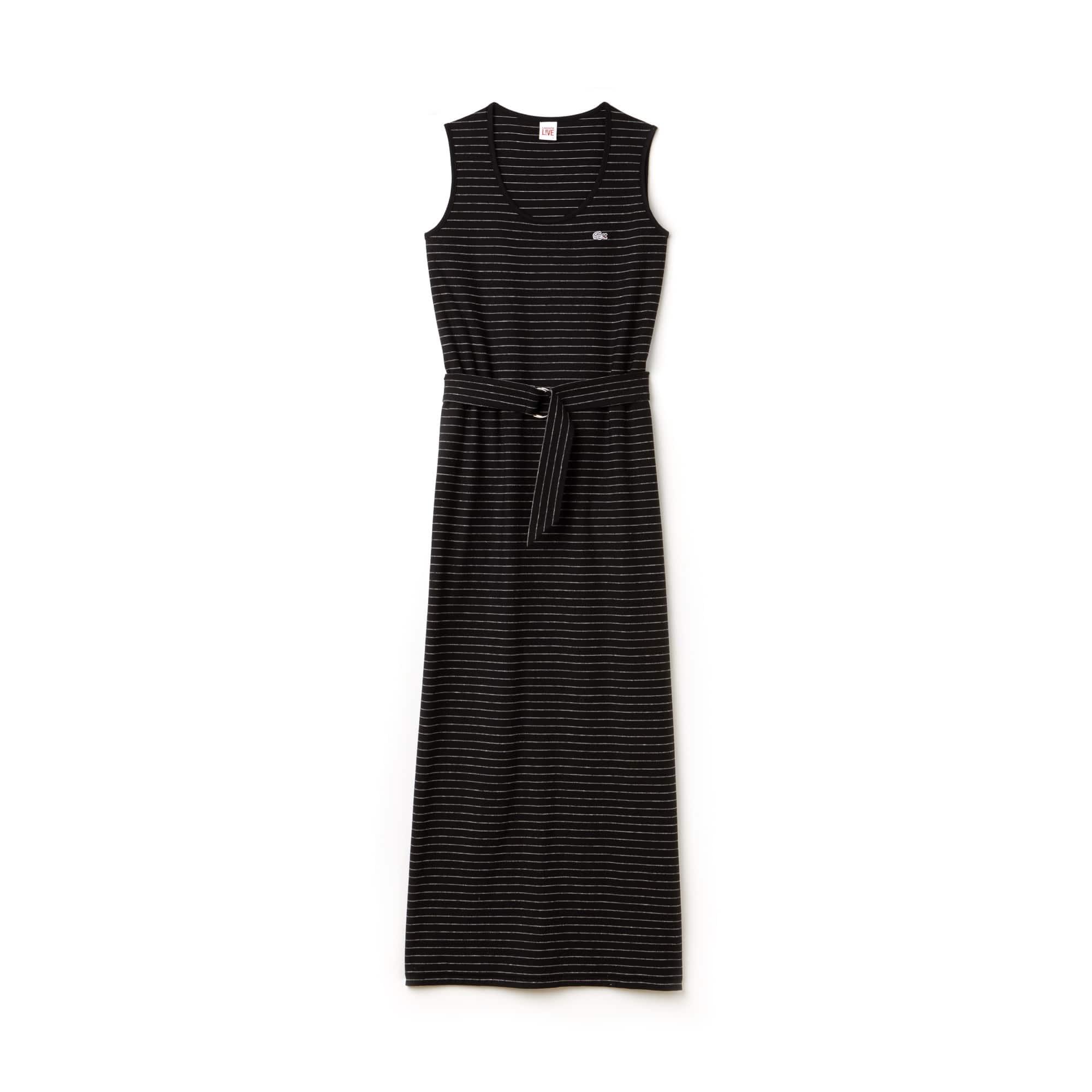 Langes Damen-Kleid mit Streifen und Gürtel LACOSTE L!VE