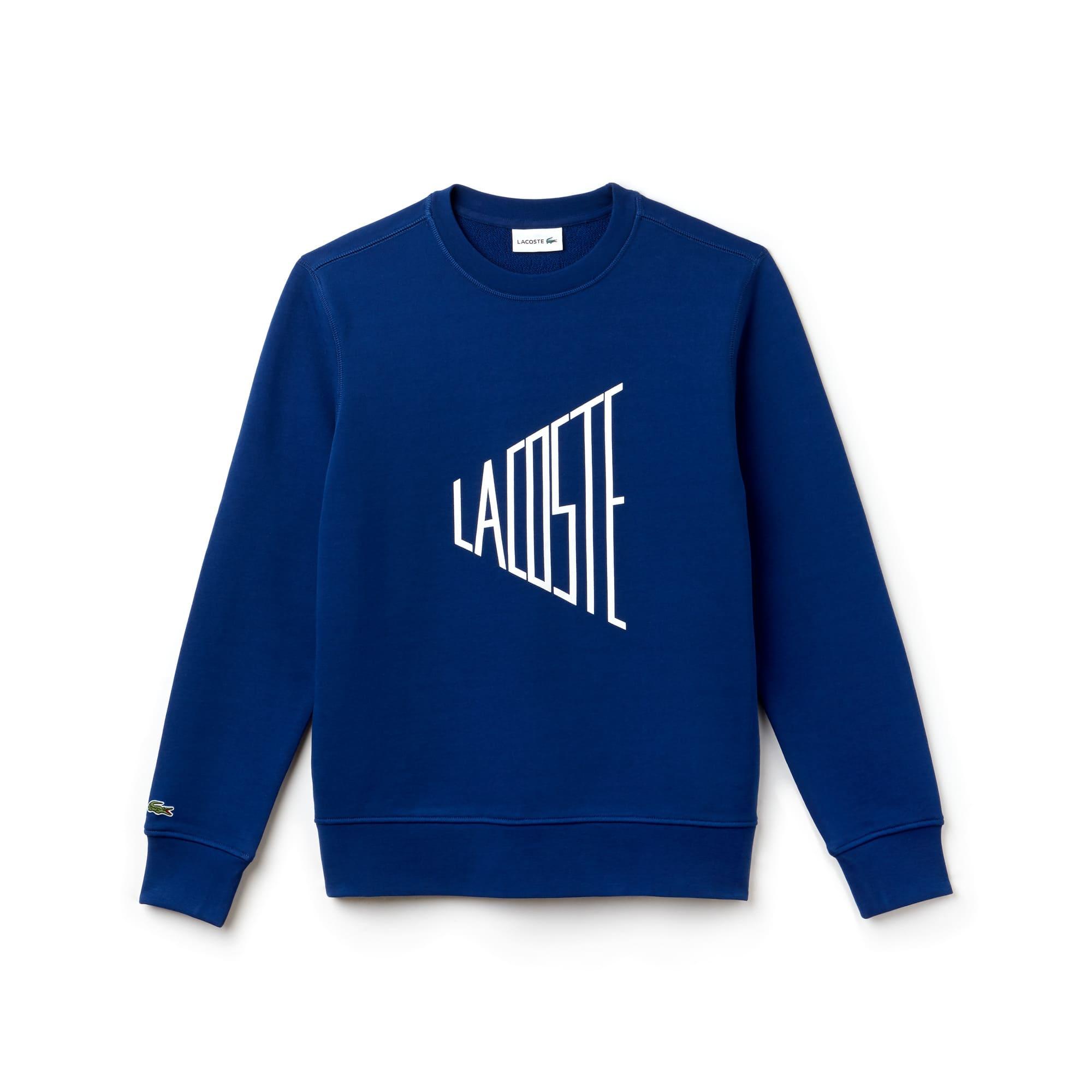 Herren-Rundhals-Sweatshirt aus Fleece mit LACOSTE-Schriftzug