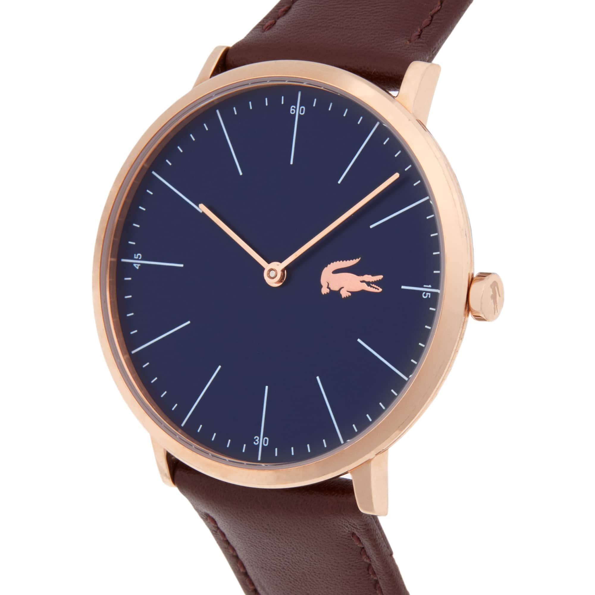Uhr mit schmalem blauem Zifferblatt und braunem Lederarmband Moon