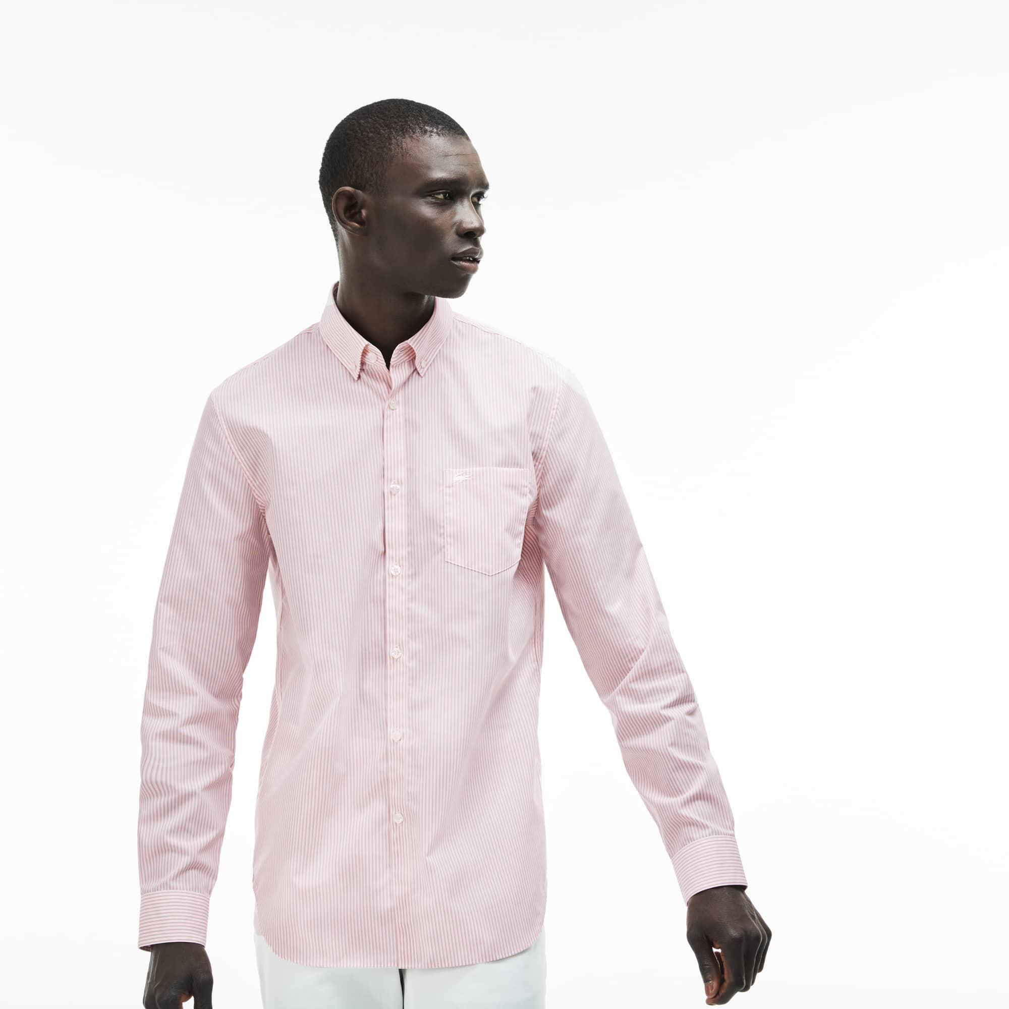 Regular Fit Herren-Hemd aus gestreifter Popeline