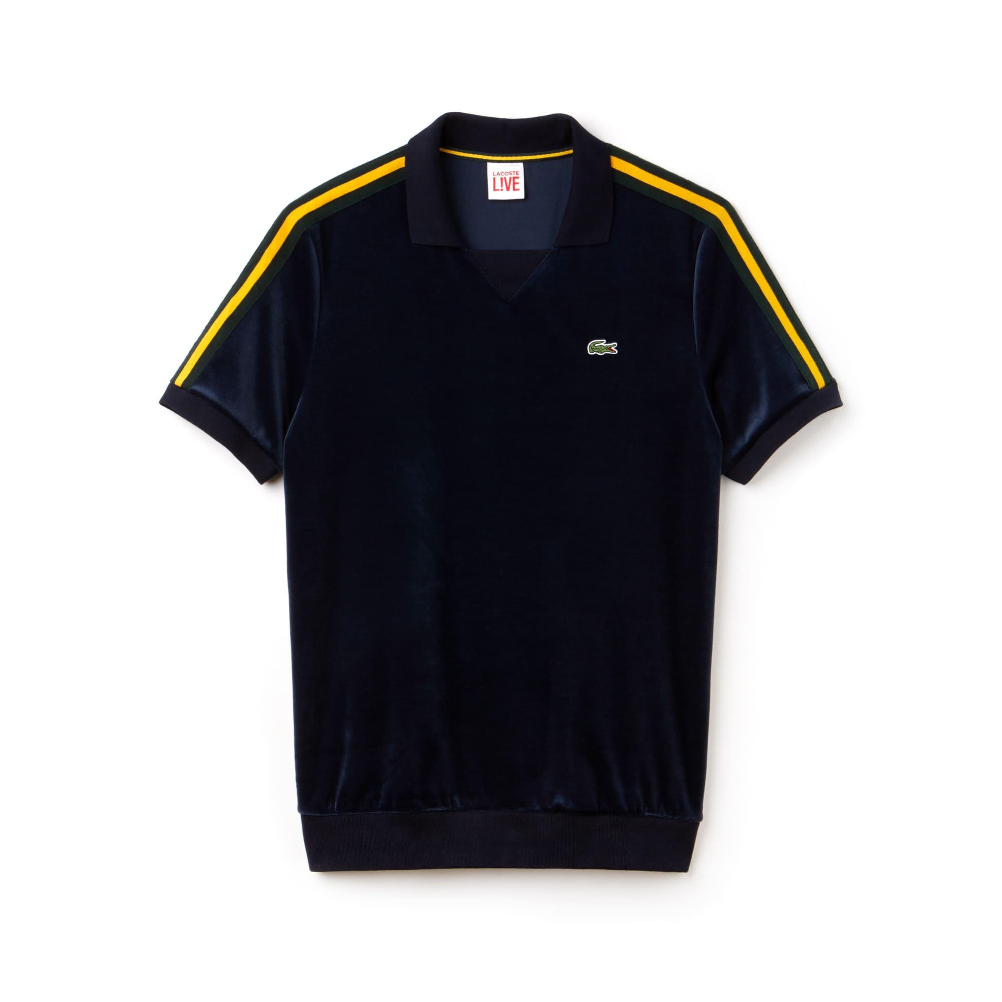 Herren LACOSTE L!VE Poloshirt aus Velours mit Kontraststreifen