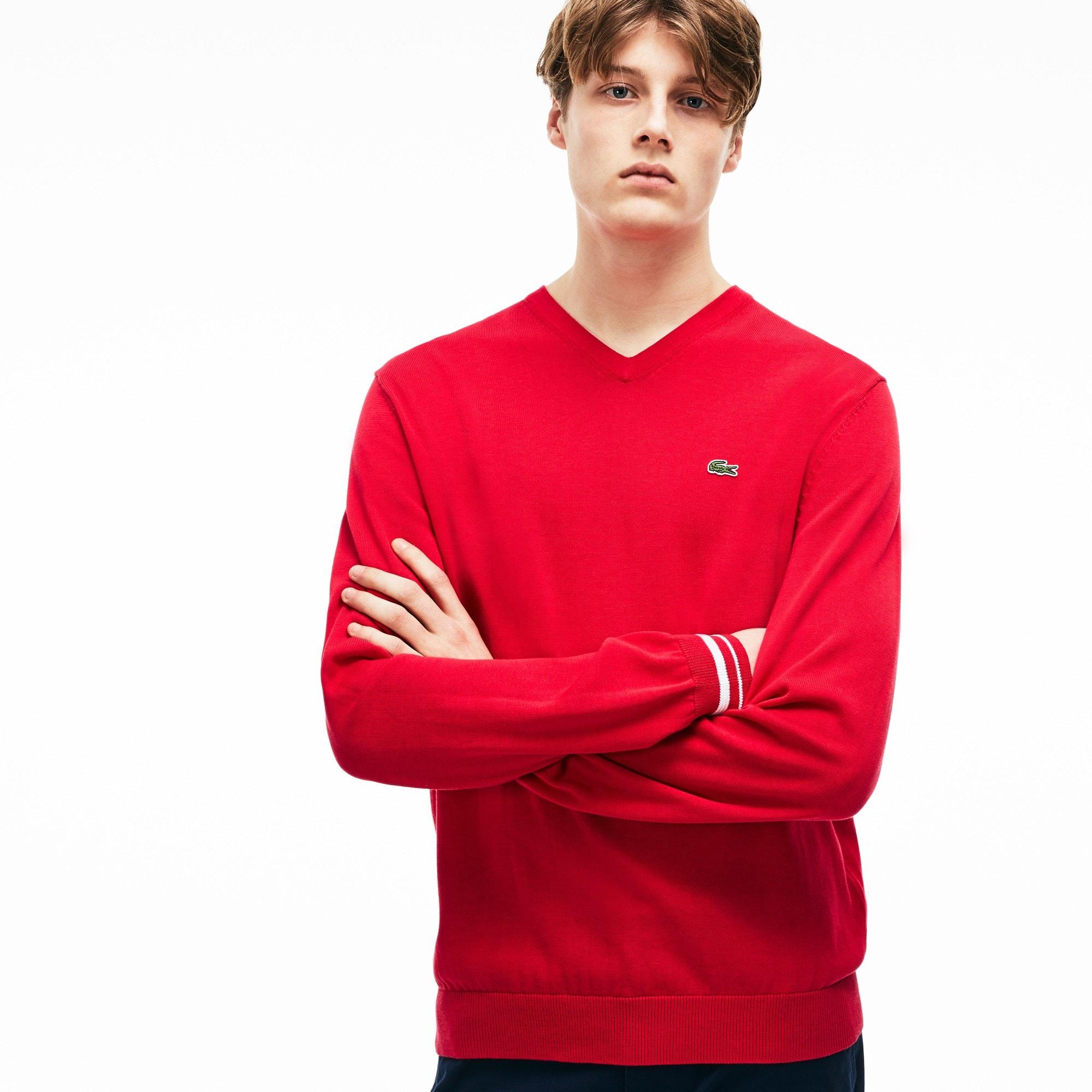 Herren-Pullover aus Baumwolljersey mit V-Ausschnitt und Akzenten