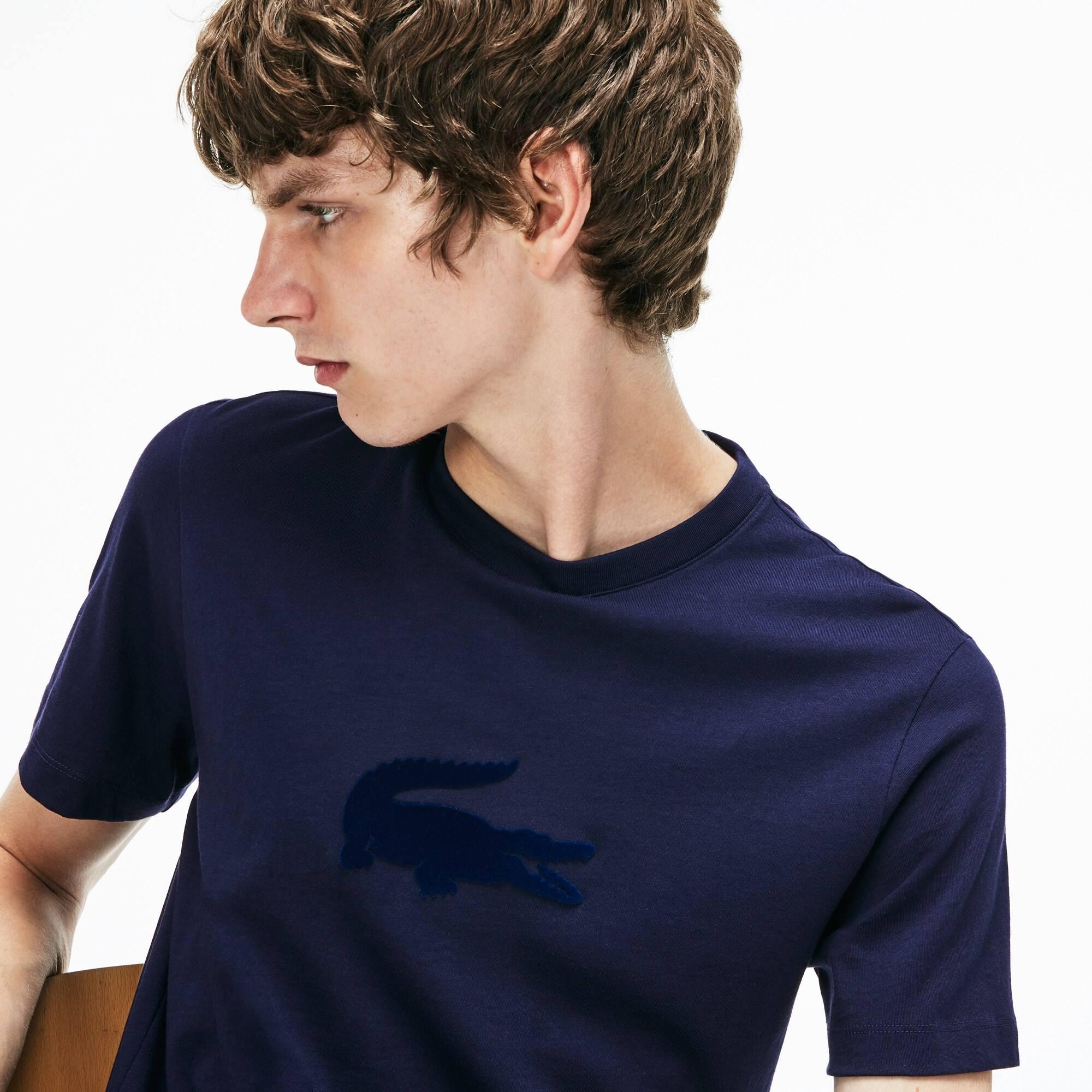 Herren Rundhals-T-Shirt aus Jersey mit großem Krokodil