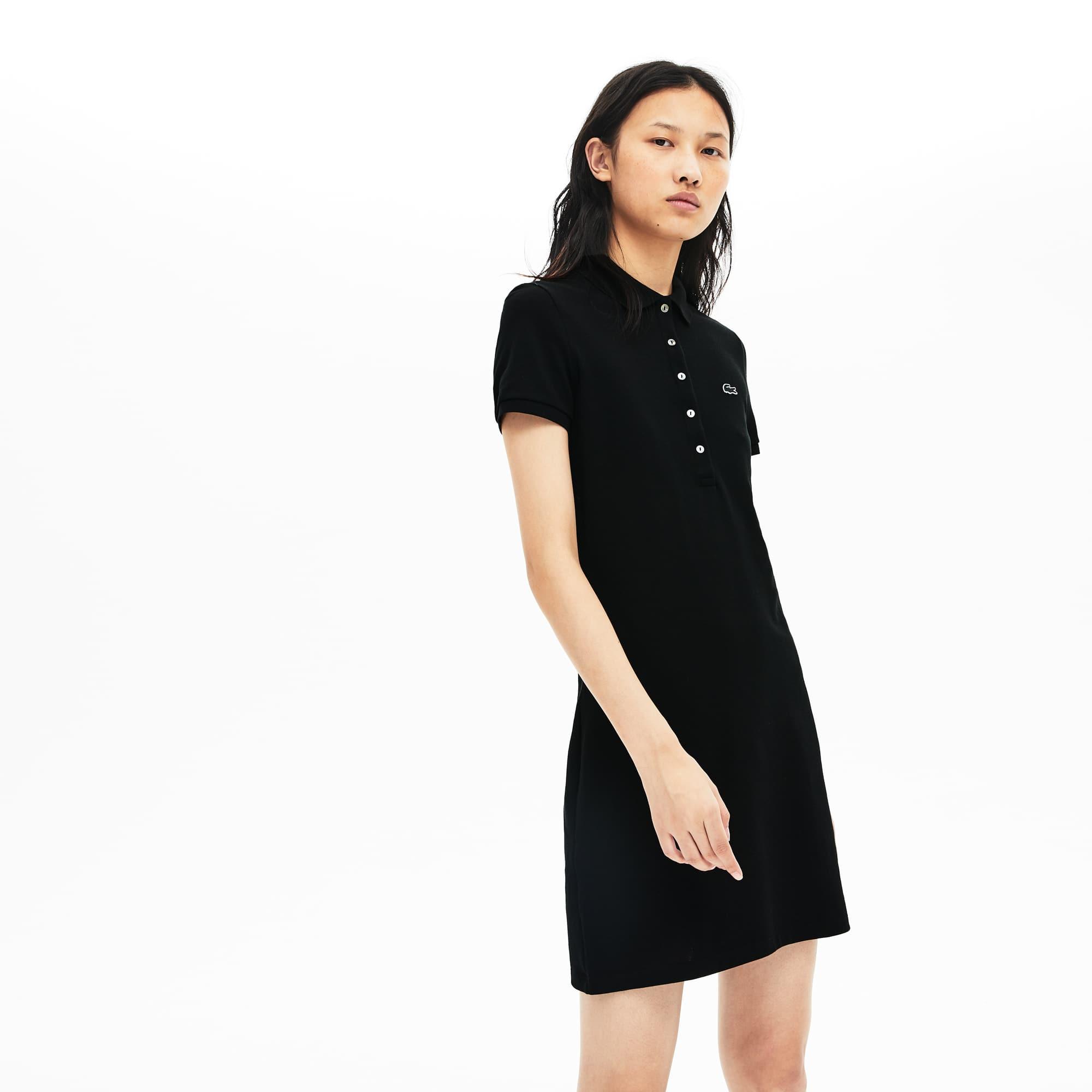 Damen-Polokleid aus Baumwoll-Mini-Piqué mit Stretch