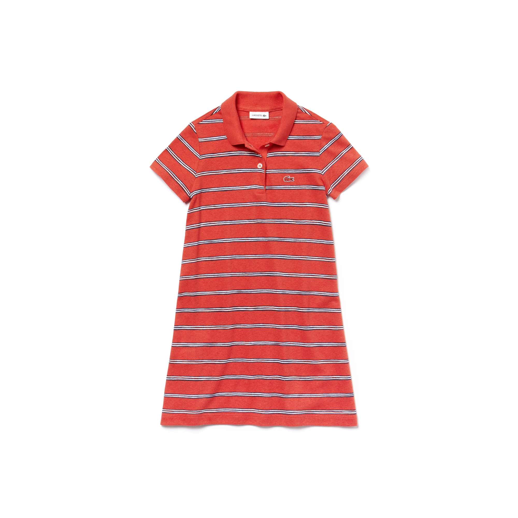Mädchen-Polokleid aus Baumwoll-Leinen-Jersey mit Streifen
