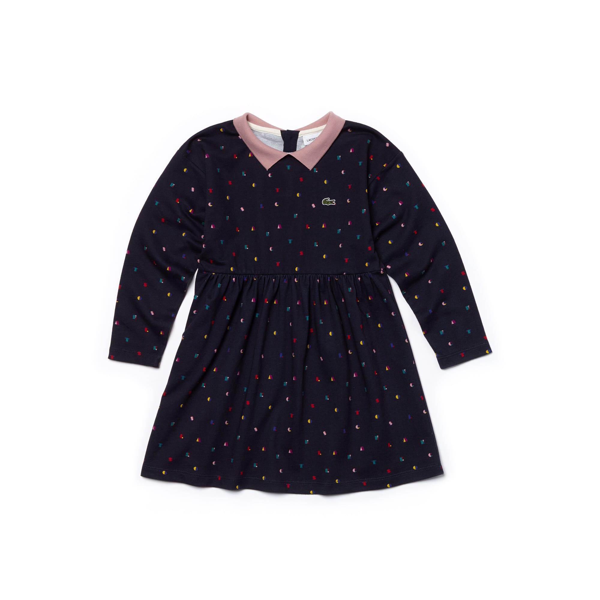 Mädchen-Polokleid aus Fleece mit Aufdruck