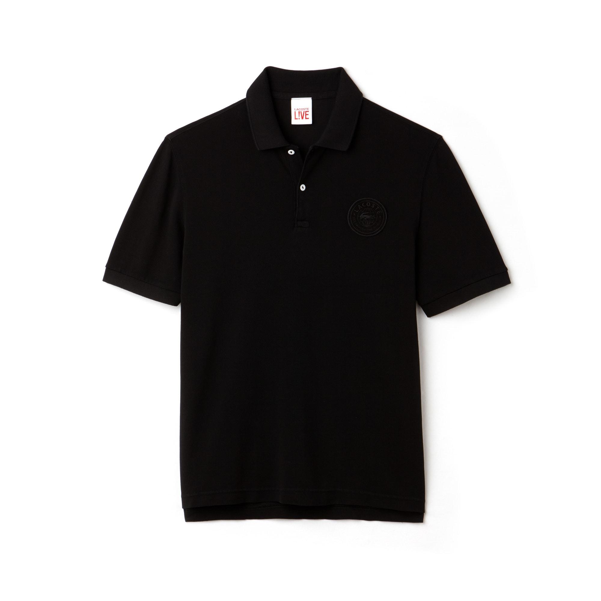 Regular Fit Herren-Polo aus Petit Piqué mit Aufnäher LACOSTE L!VE