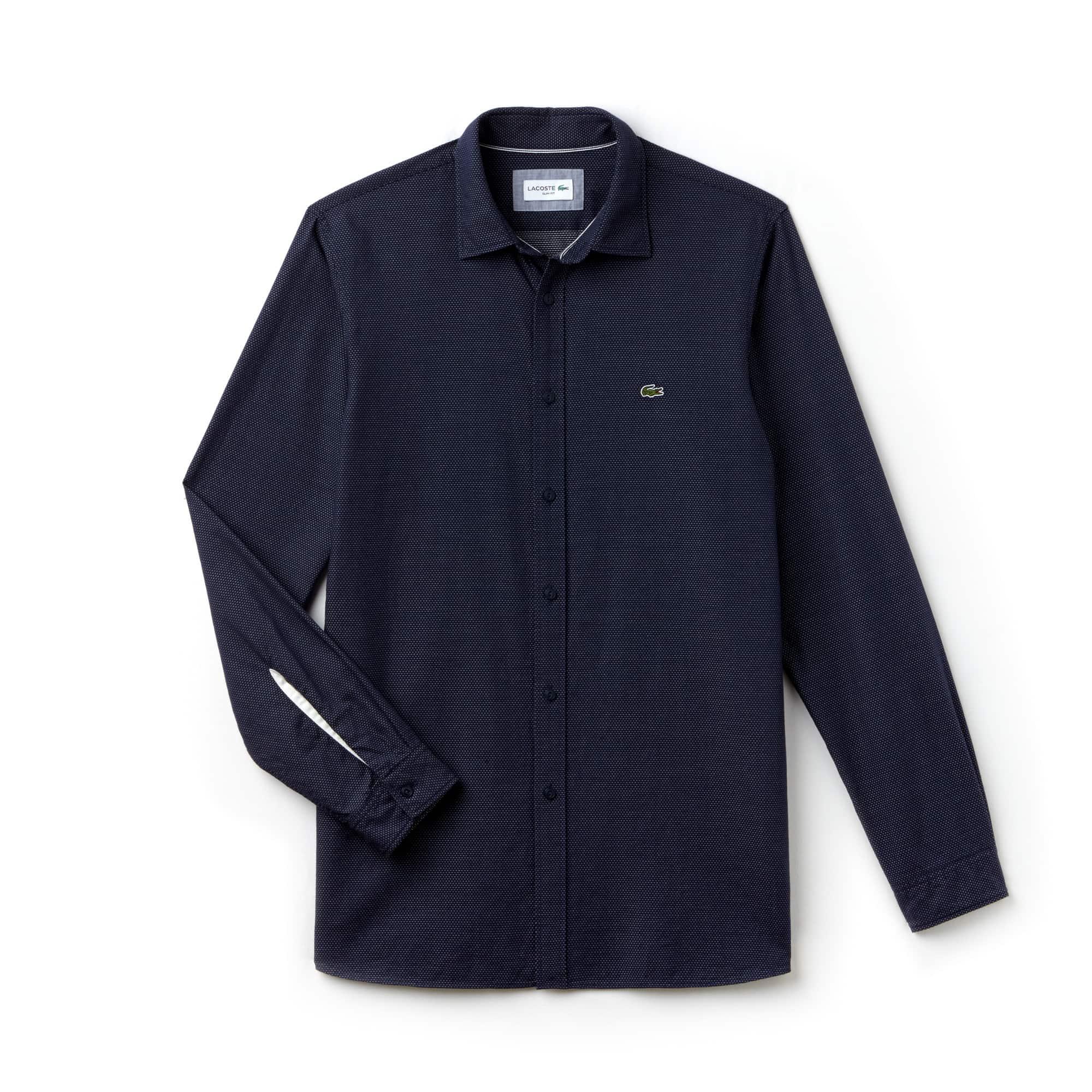 Regular Fit Herren-Hemd aus gepunkteter Jacquard-Popeline