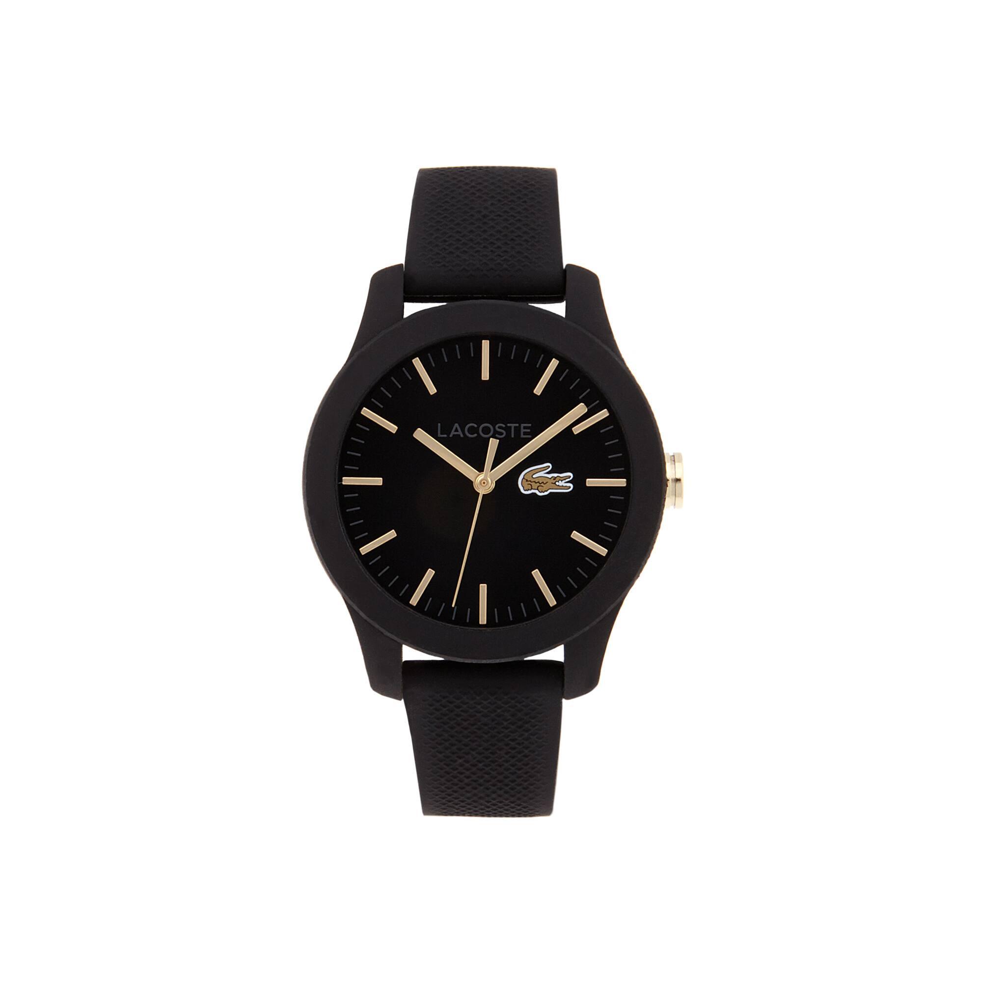 Uhr Lacoste.12.12 mit schwarzer Silikonbeschichtung und schwarzem Silikonarmband und gelbgold IP Akz
