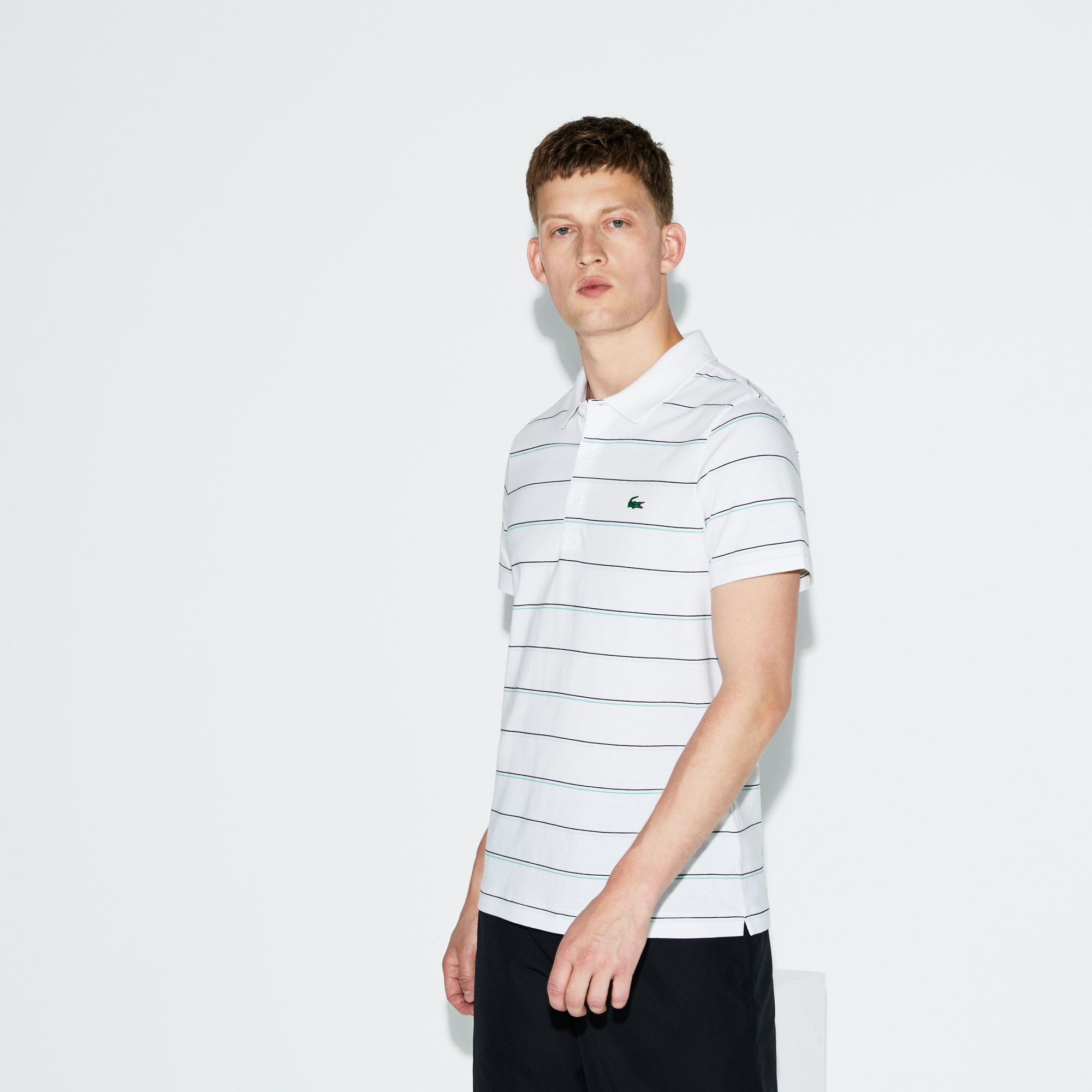 Herren LACOSTE SPORT gestreiftes Tennis-Poloshirt aus Baumwolljersey