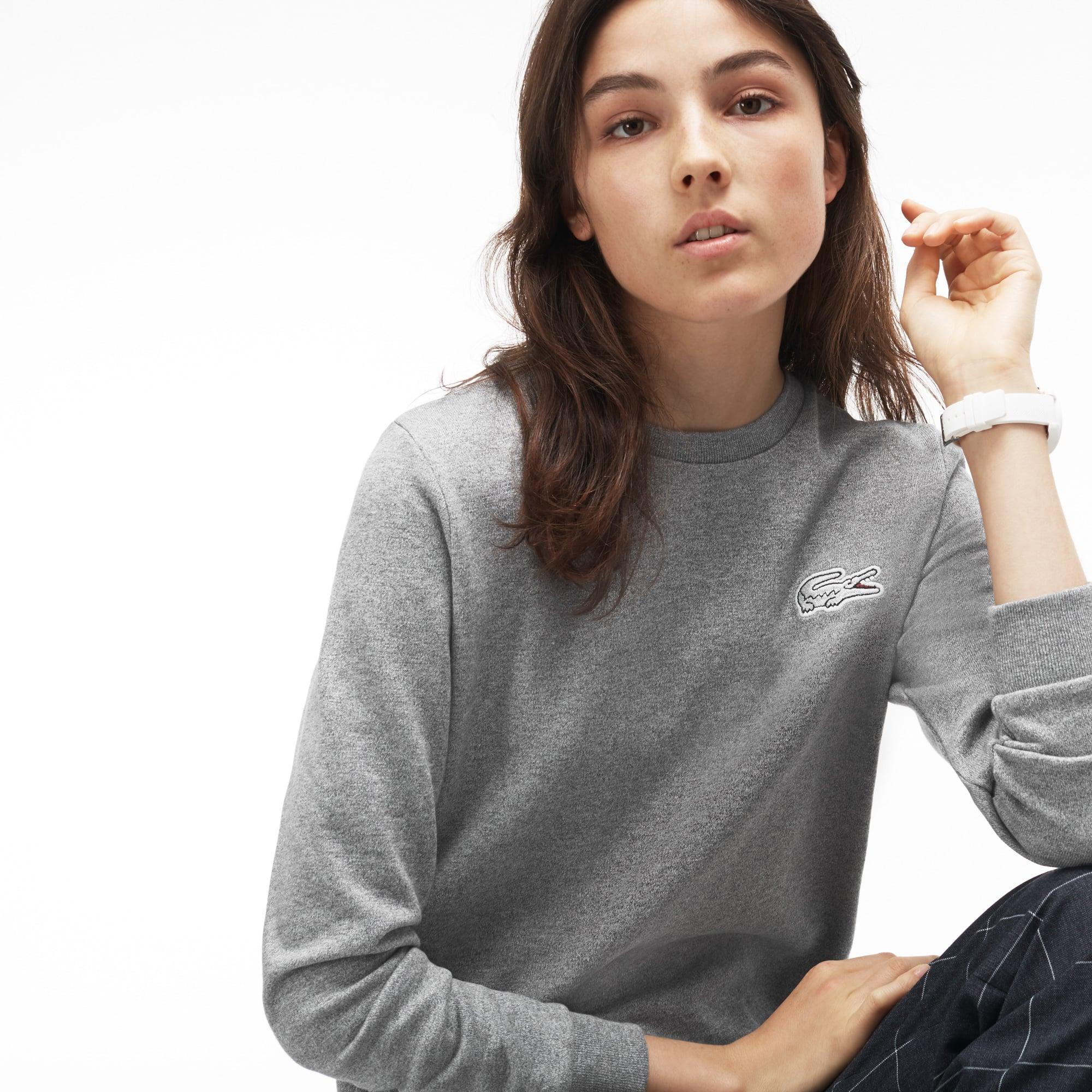 Damen-Sweatshirt aus Fleece mit großem Krokodil LACOSTE L!VE