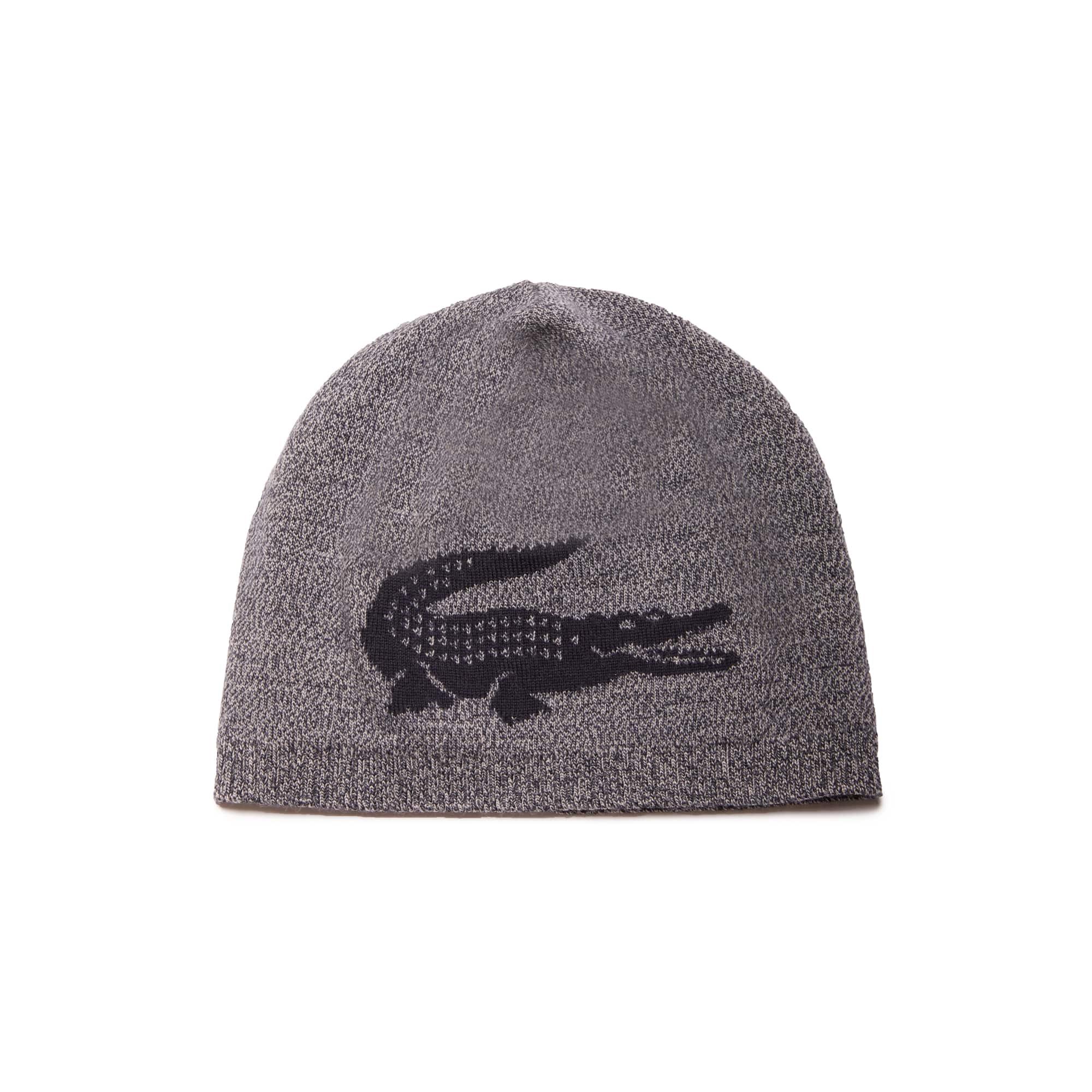 Herren-Mütze aus Woll-Jacquard mit Krokodil