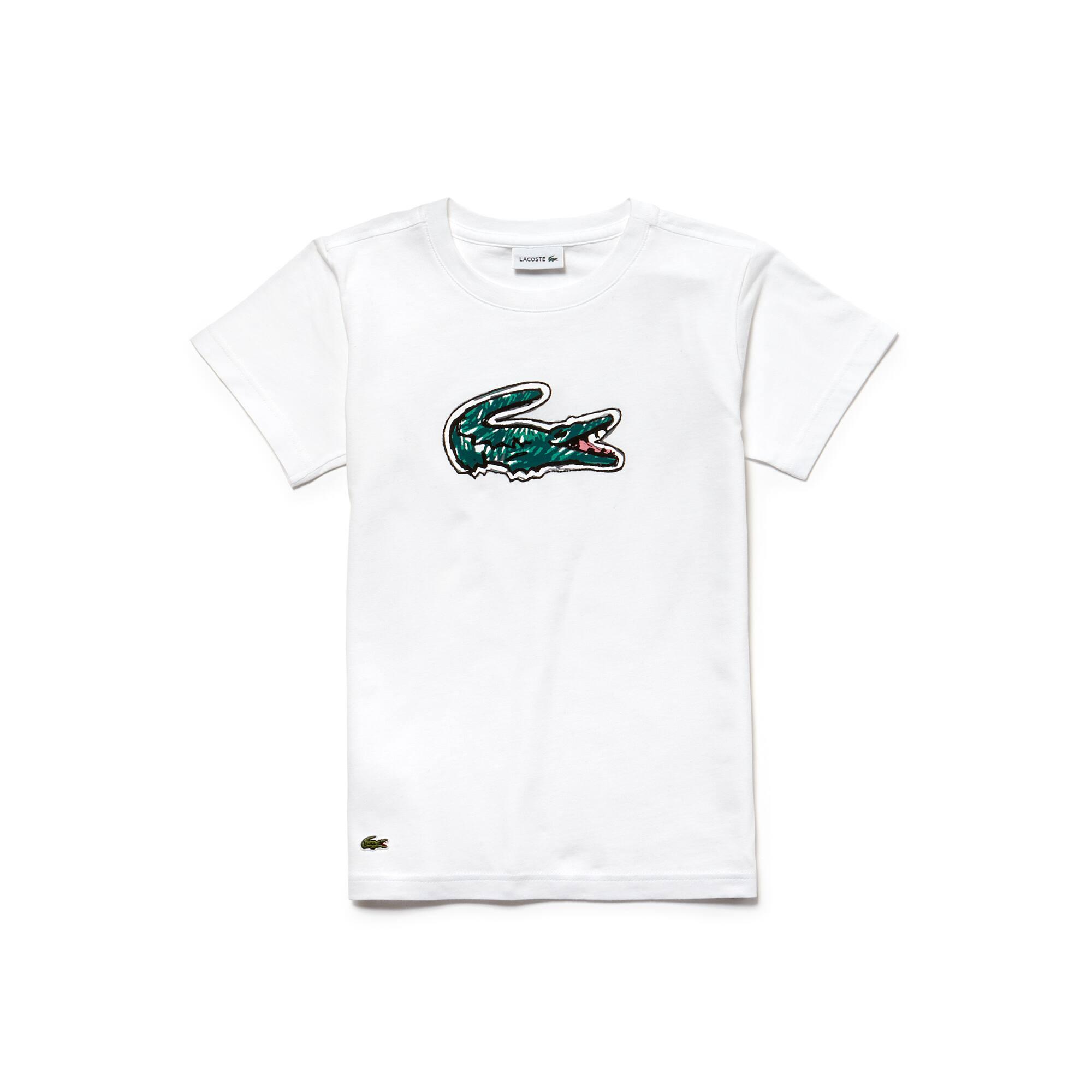 Jungen-Rundhals-T-Shirt aus Indigo-Jersey mit Krokodilaufdruck