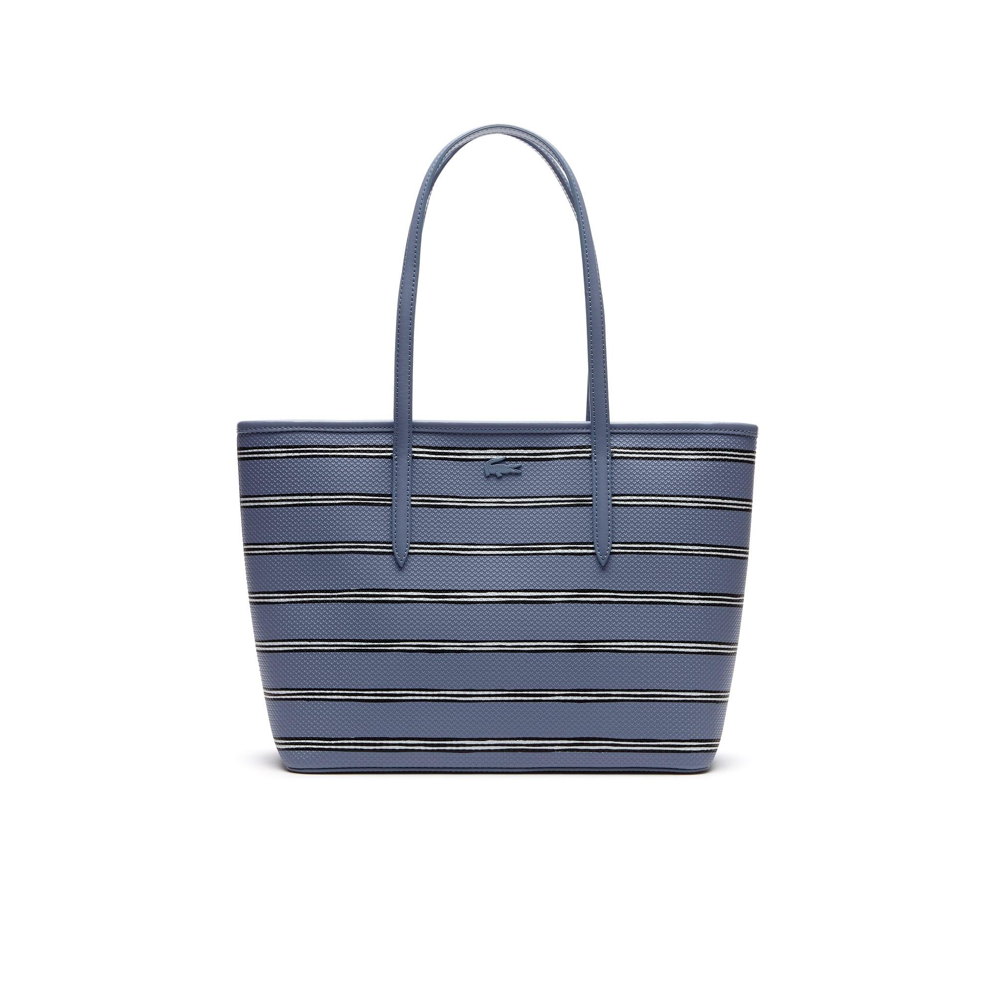 Damen Chantaco Leder Tote Bag aus Piquéleder mit Streifenprint