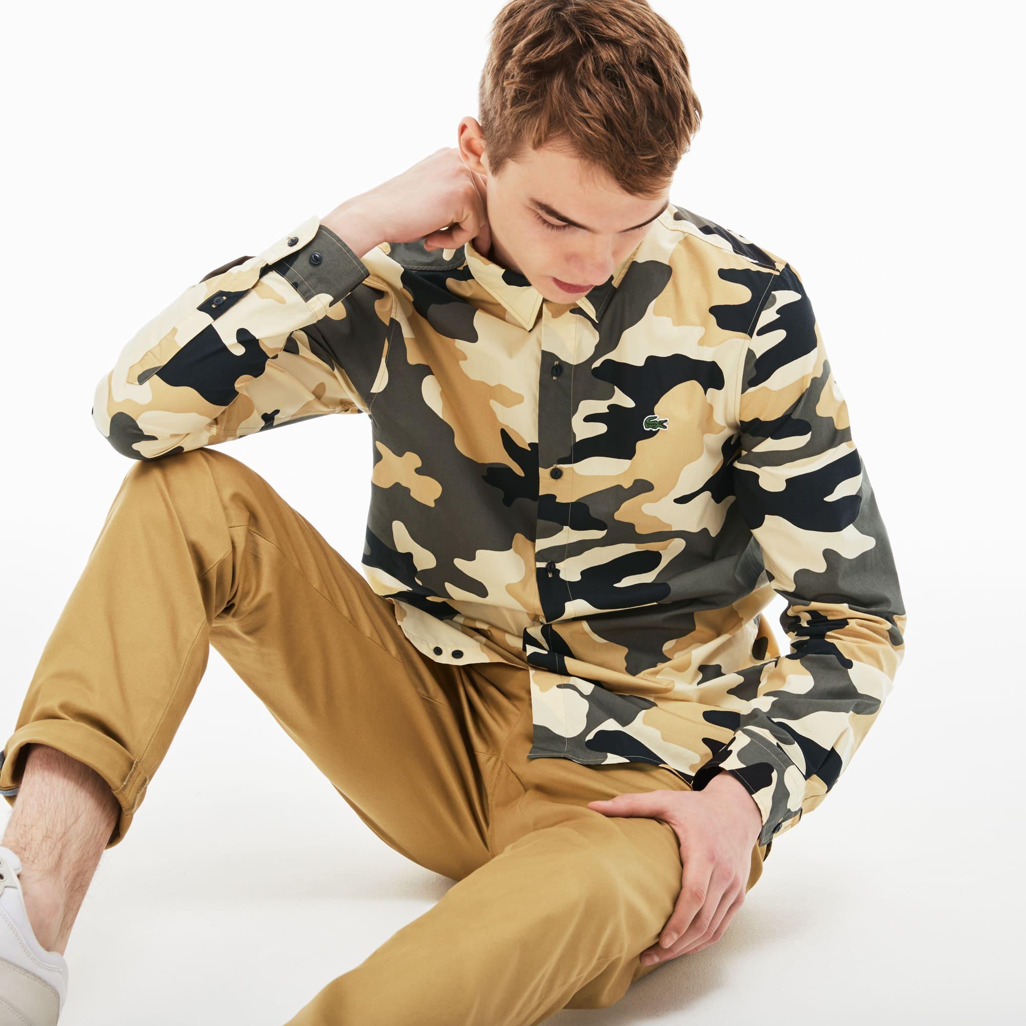 Skinny Fit Herren-Hemd aus Popeline mit Tarnmuster LACOSTE L!VE