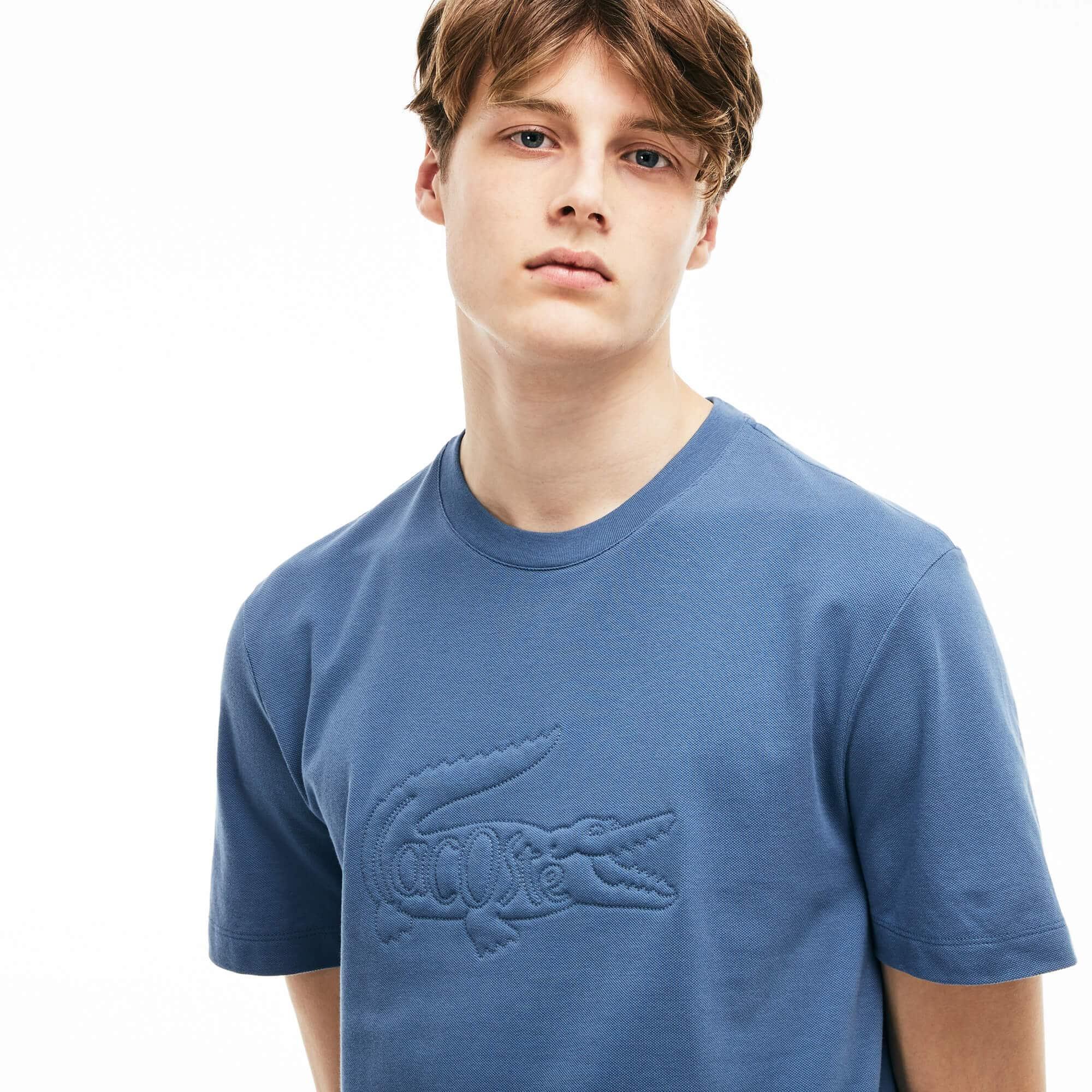 Herren-Rundhals-T-Shirt aus Mini-Piqué mit Krokodil-Stickerei