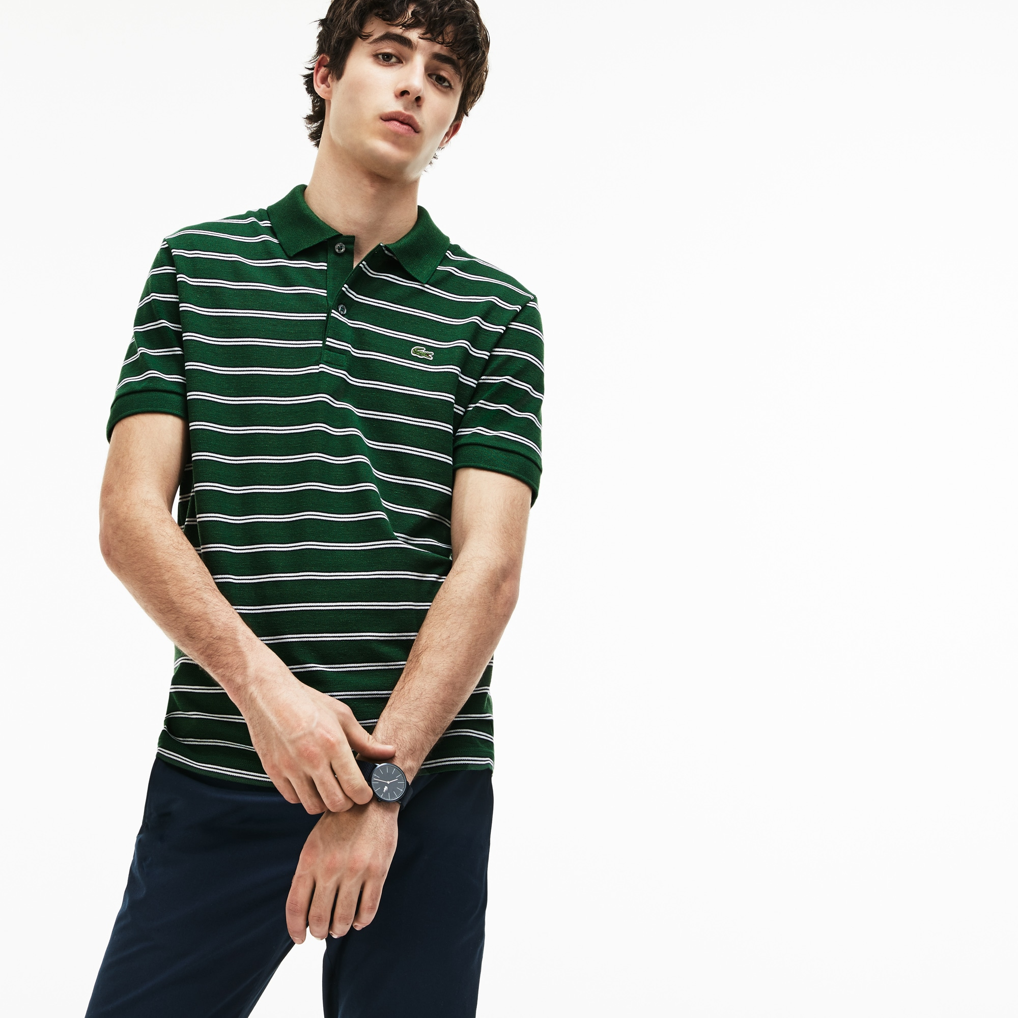 Regular Fit Herren-Poloshirt aus gestreiftem Baumwoll-Piqué