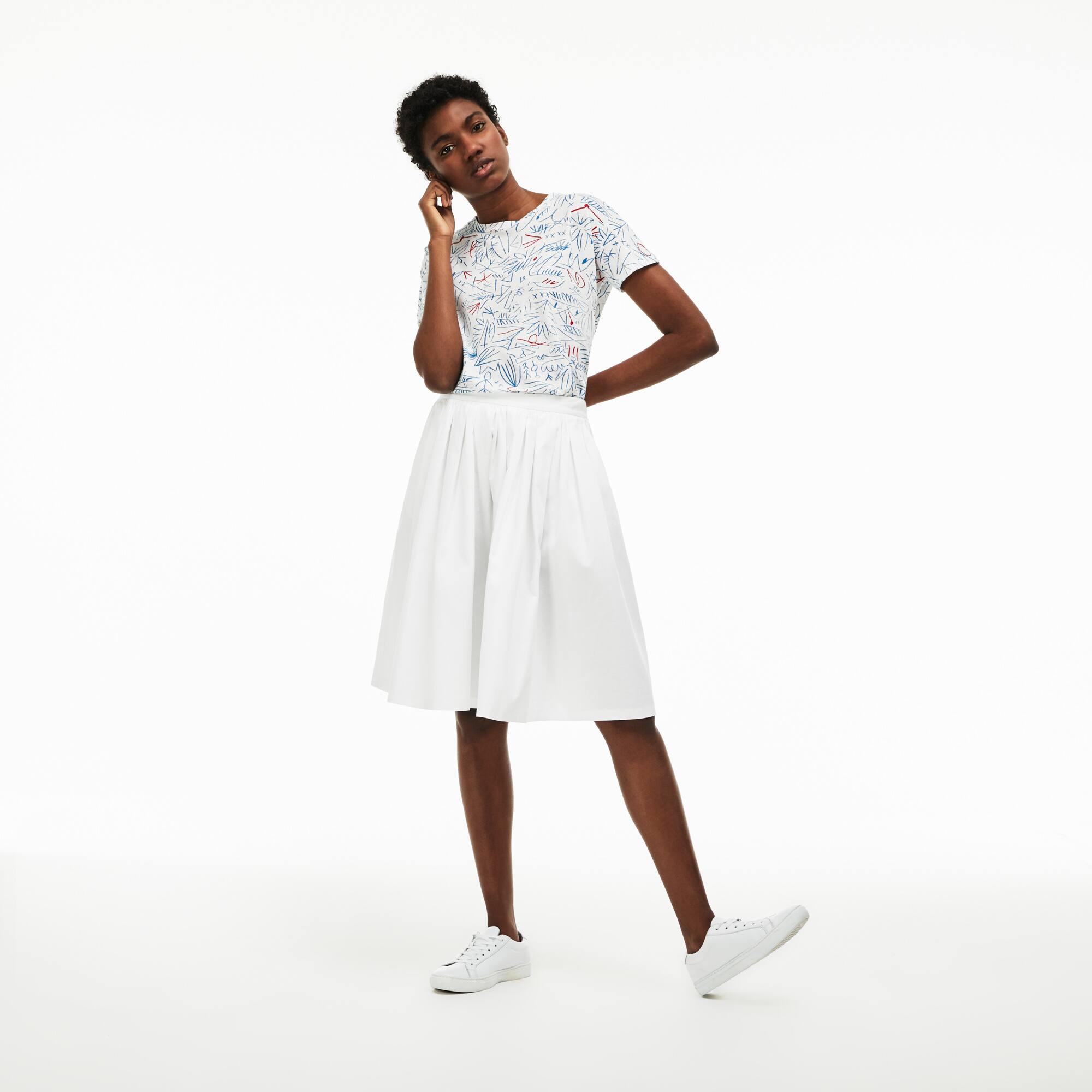 Geraffter, halblanger Damenrock aus strukturierter Baumwolle